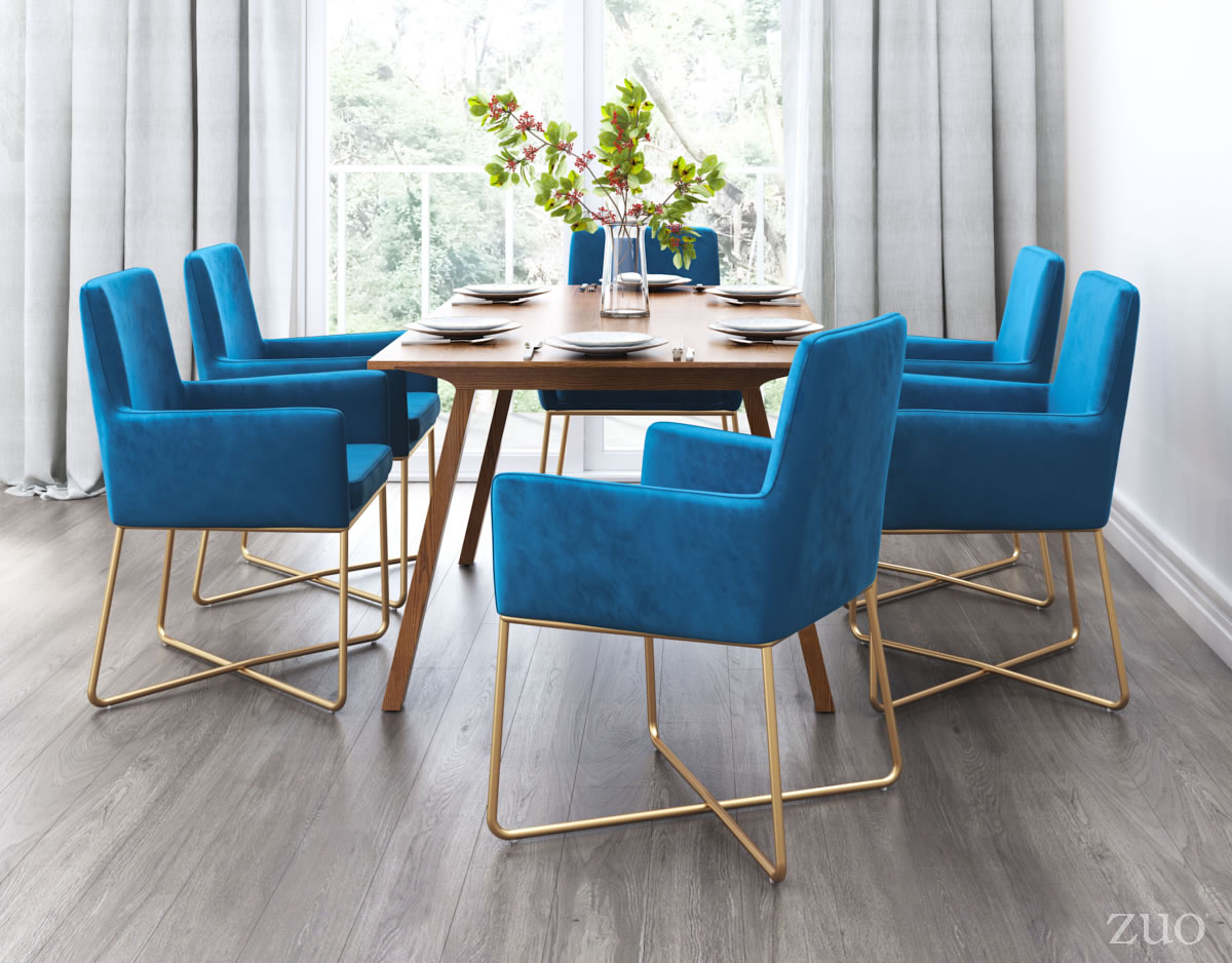 Newest Honoria 3 Piece Dining Sets Pertaining To Zuo Modern Honoria Arm Chair (Dark Blue Velvet ) –  (#10 of 20)