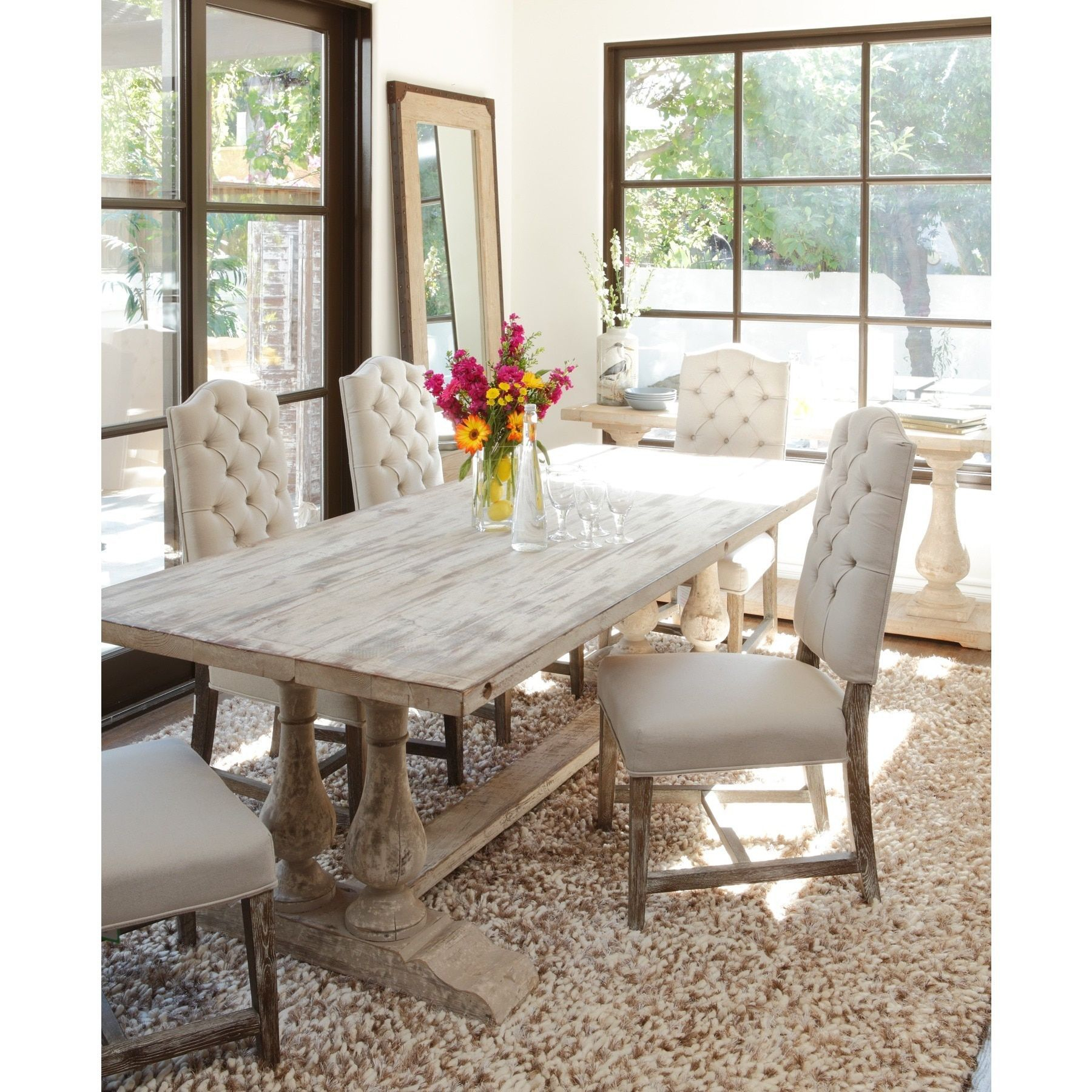 Newest Linette 5 Piece Dining Table Sets Within Kosas Home Winfrey Antique White Reclaimed Pine 98 Inch Dining Table (#11 of 20)