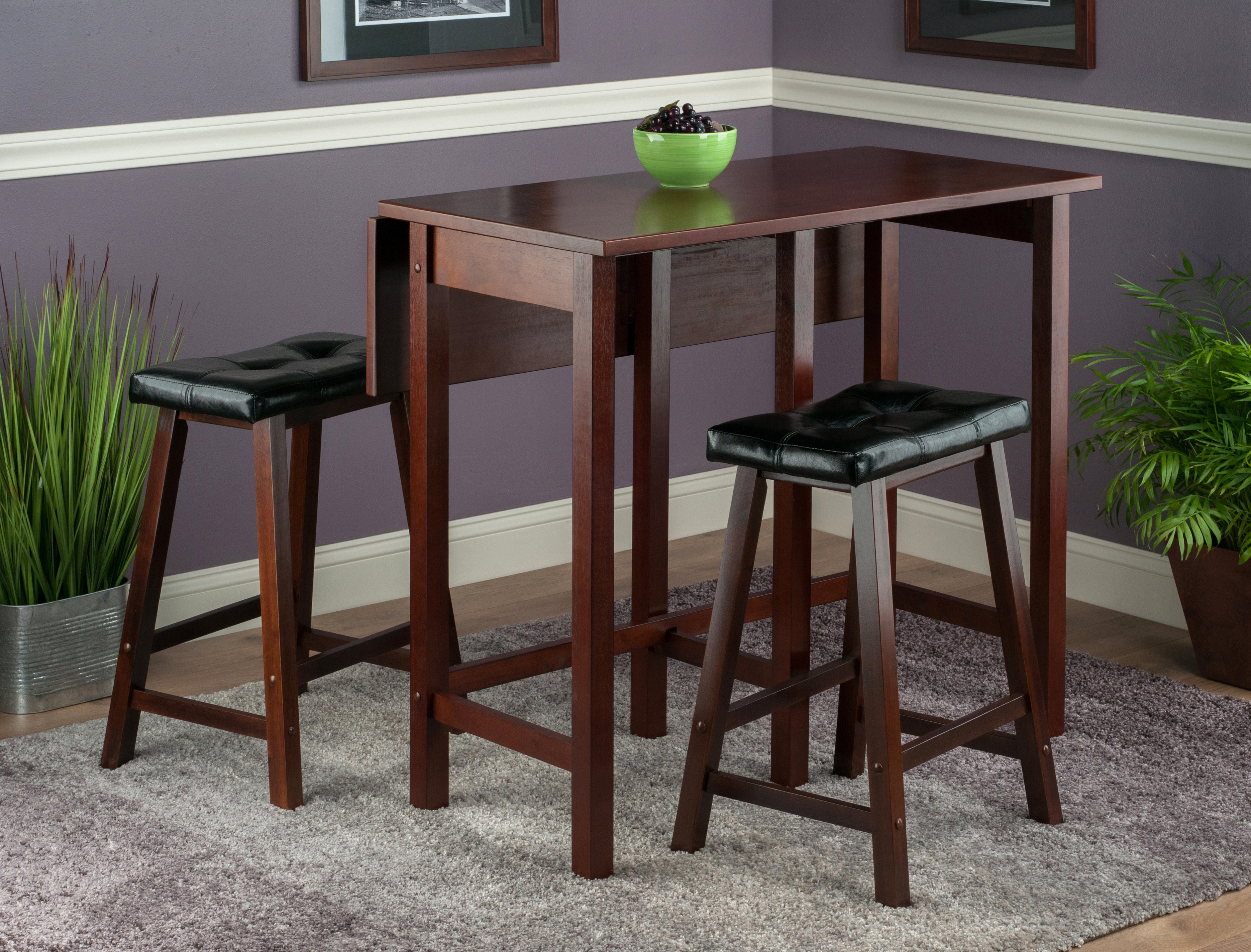 Popular Photo of Bettencourt 3 Piece Counter Height Solid Wood Dining Sets