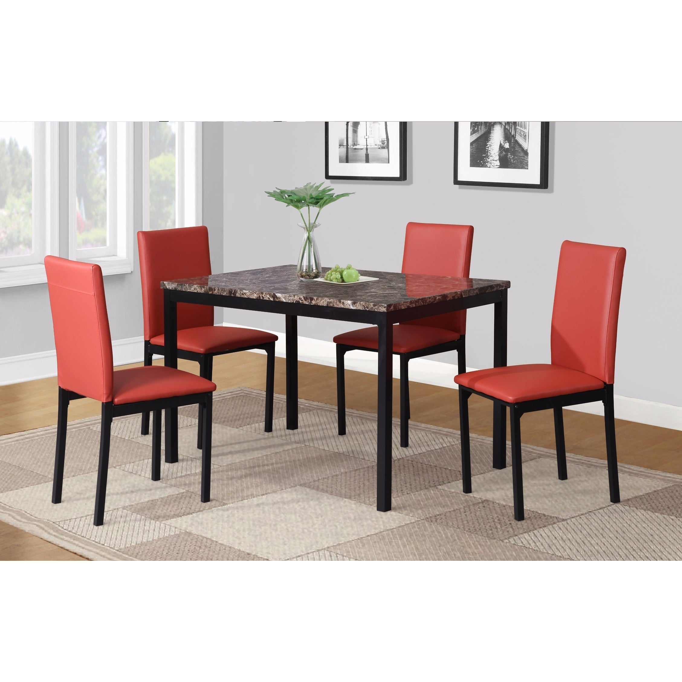 Newest Shop Noyes Faux Leather Seat Metal Frame Black Dining Chairs, Set Of With Regard To Noyes 5 Piece Dining Sets (#4 of 20)