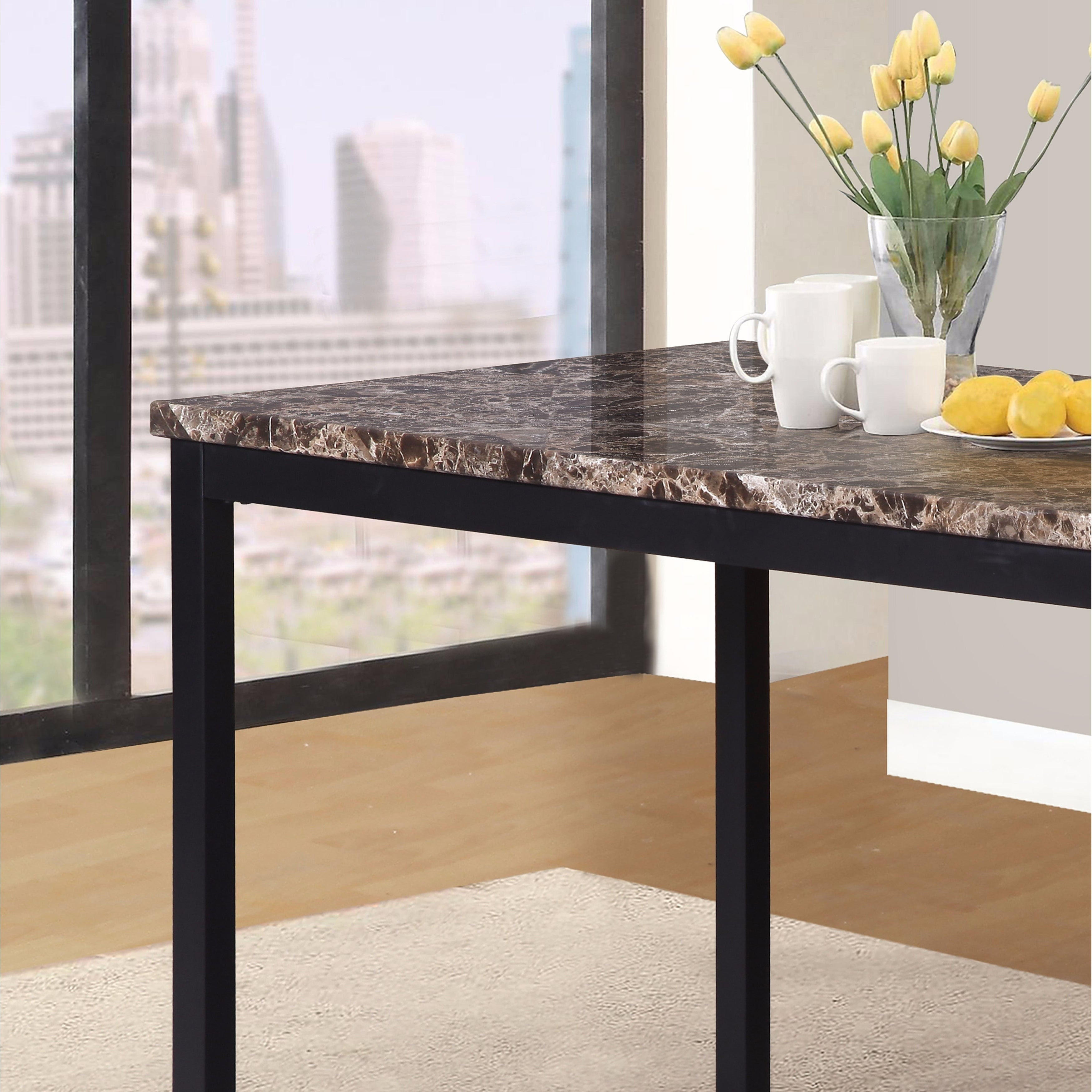 Newest Shop Noyes Metal Dining Table With Laminated Faux Marble Top – Black Within Noyes 5 Piece Dining Sets (#5 of 20)