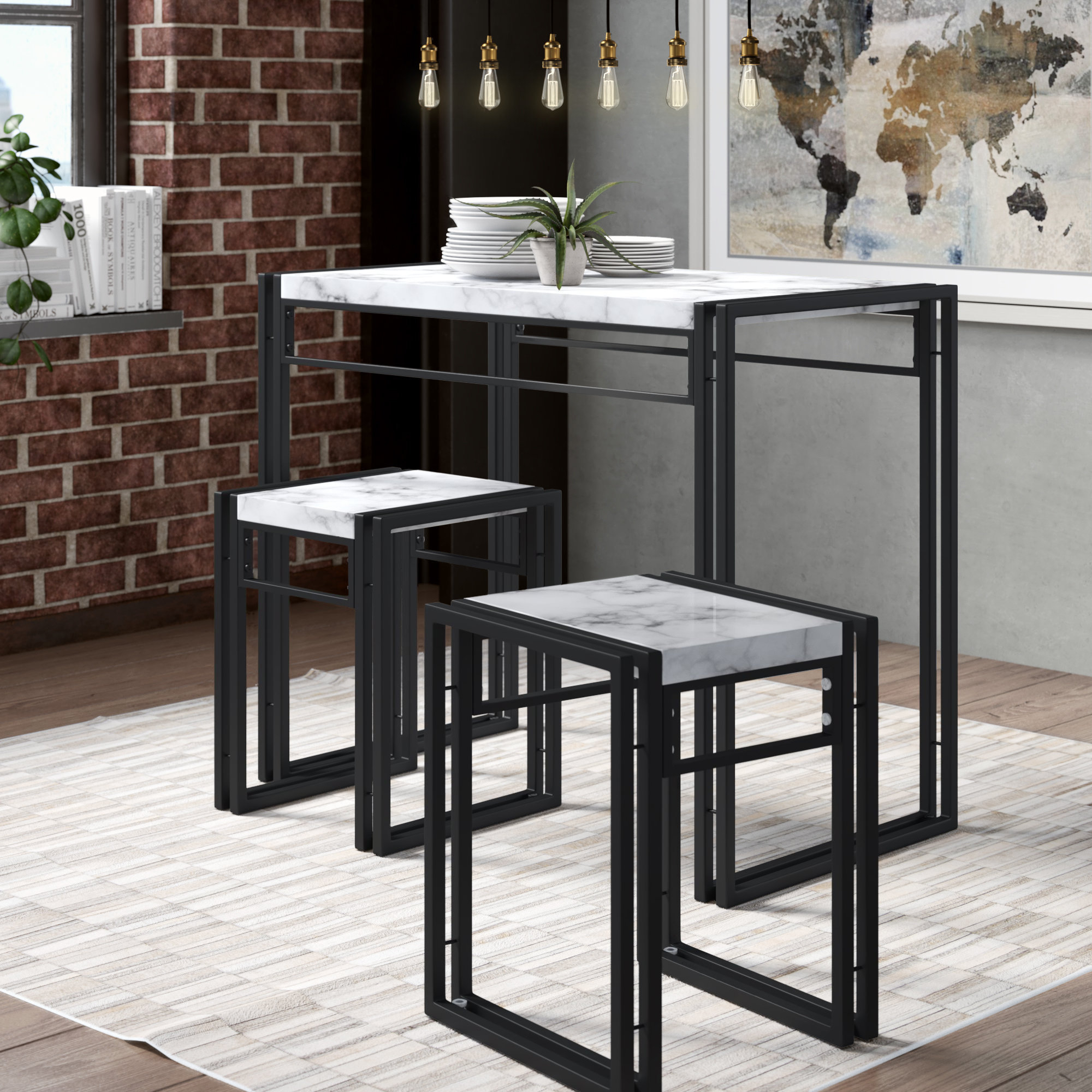 Nutter 3 Piece Dining Sets With Regard To Preferred Williston Forge Debby Small Space 3 Piece Dining Set & Reviews (#12 of 20)