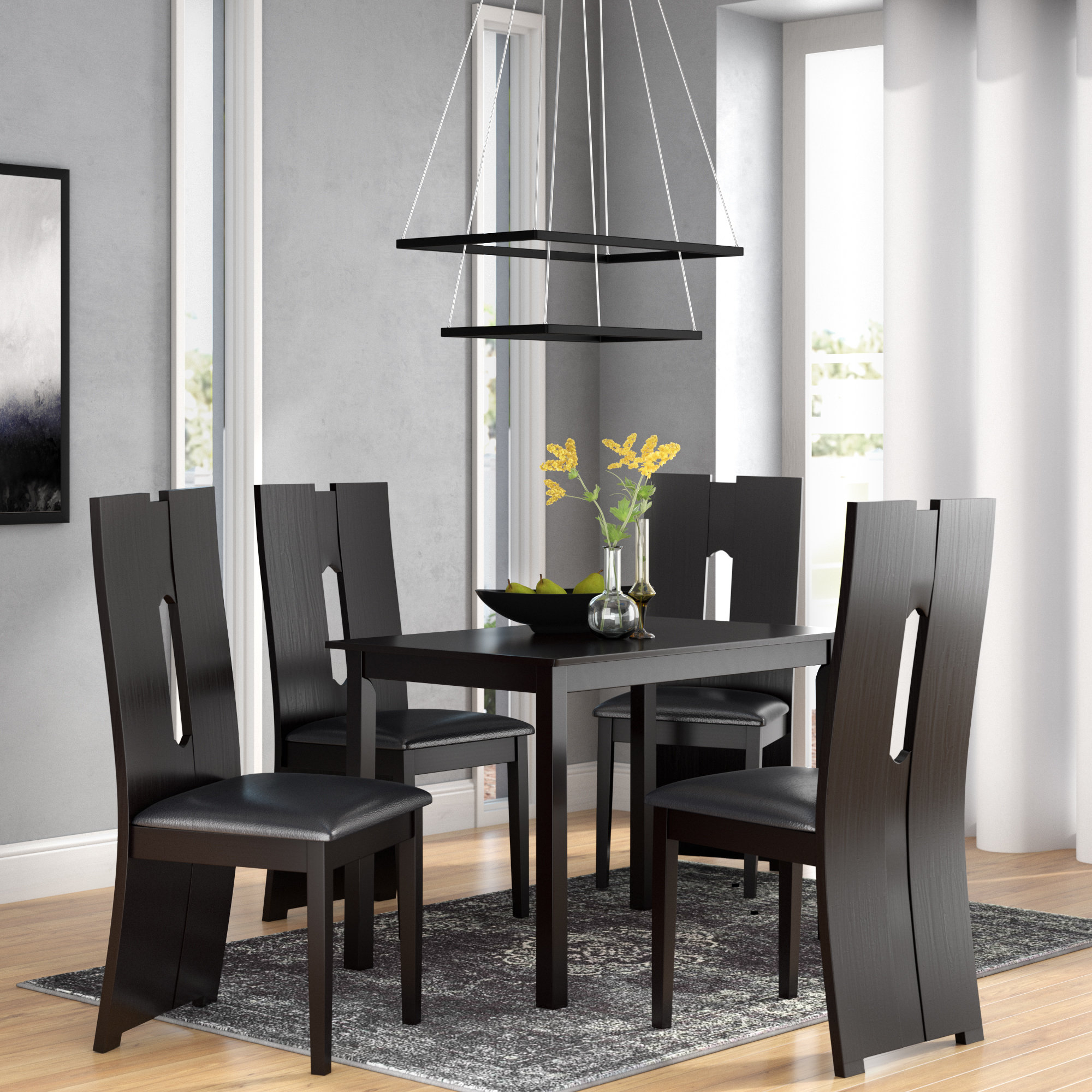 Orren Ellis Onsted Modern And Contemporary 5 Piece Breakfast Nook For Famous 5 Piece Breakfast Nook Dining Sets (#12 of 20)