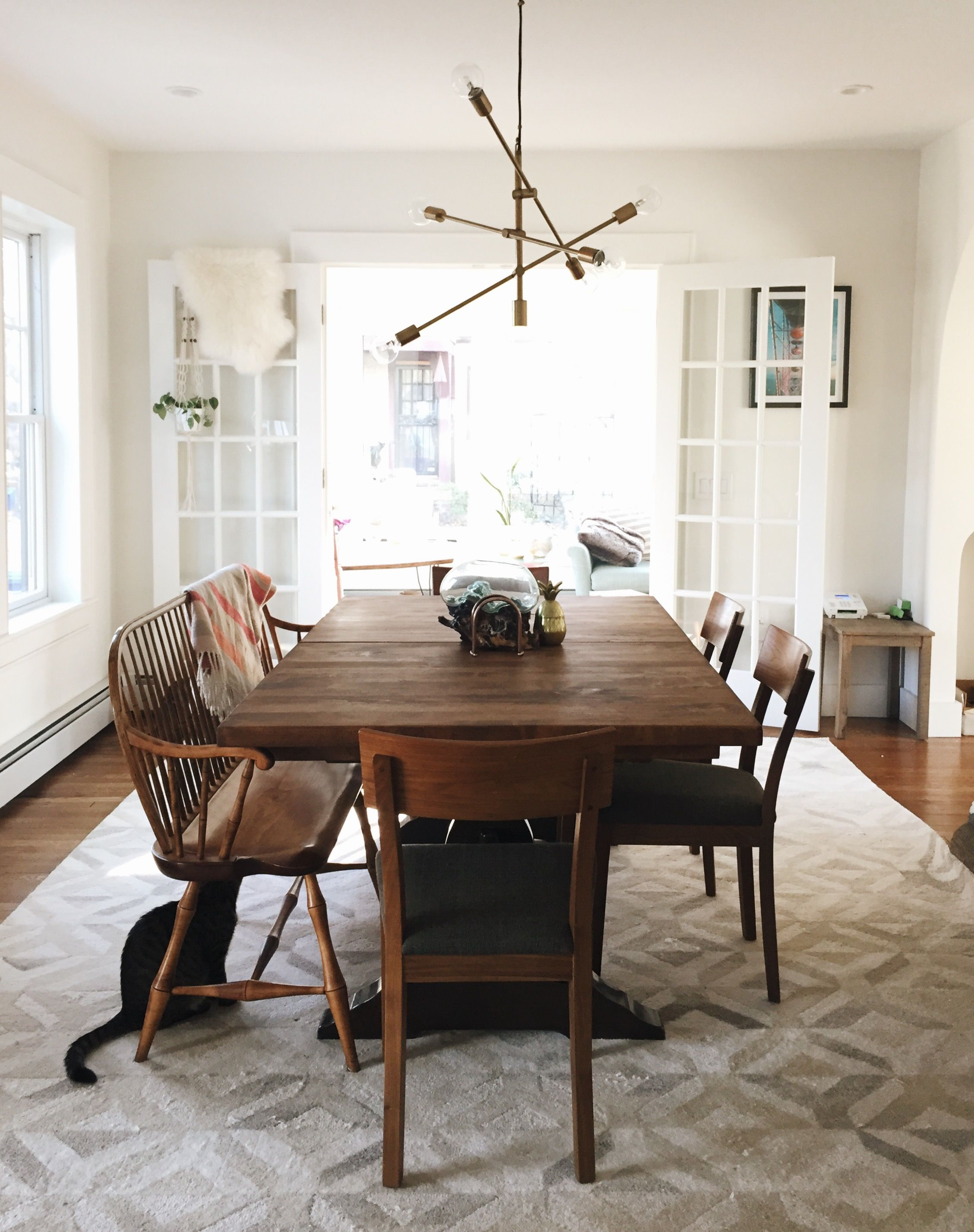 Our Dining Room! West Elm Marquis Rug West Elm Mobile Pendant With Regard To Popular Autberry 5 Piece Dining Sets (#15 of 20)