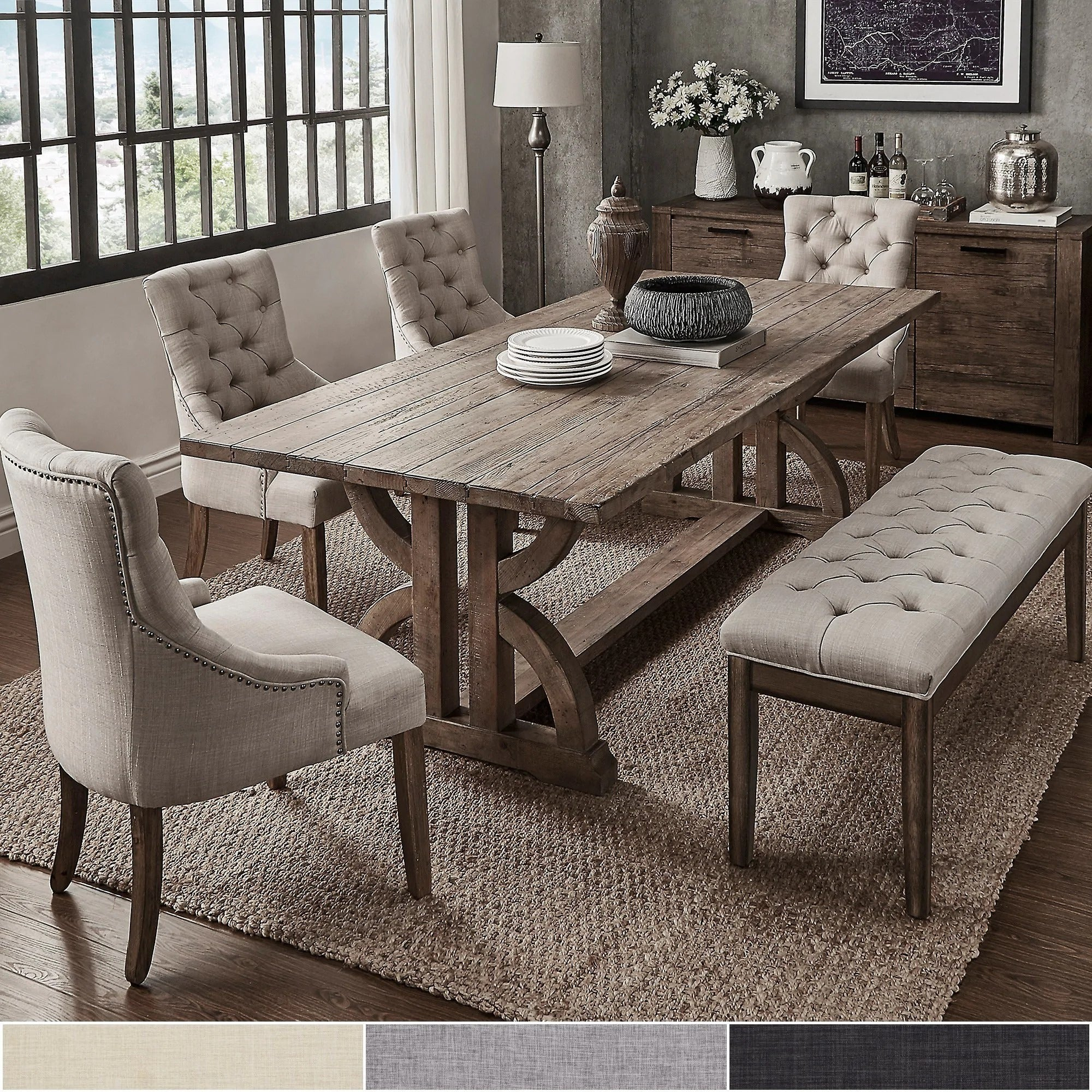 Our With Falmer 3 Piece Solid Wood Dining Sets (View 3 of 20)
