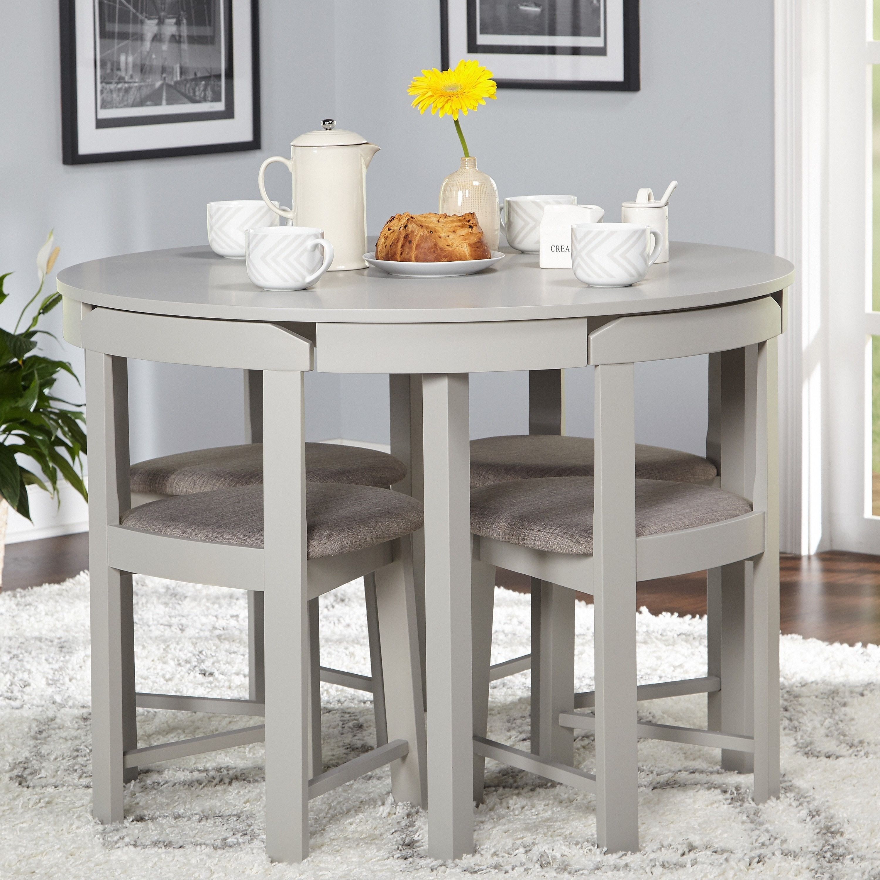 Perfect For Smaller Spaces The 5 Piece Tobey Compact Dining Set In Trendy Bryson 5 Piece Dining Sets (#14 of 20)