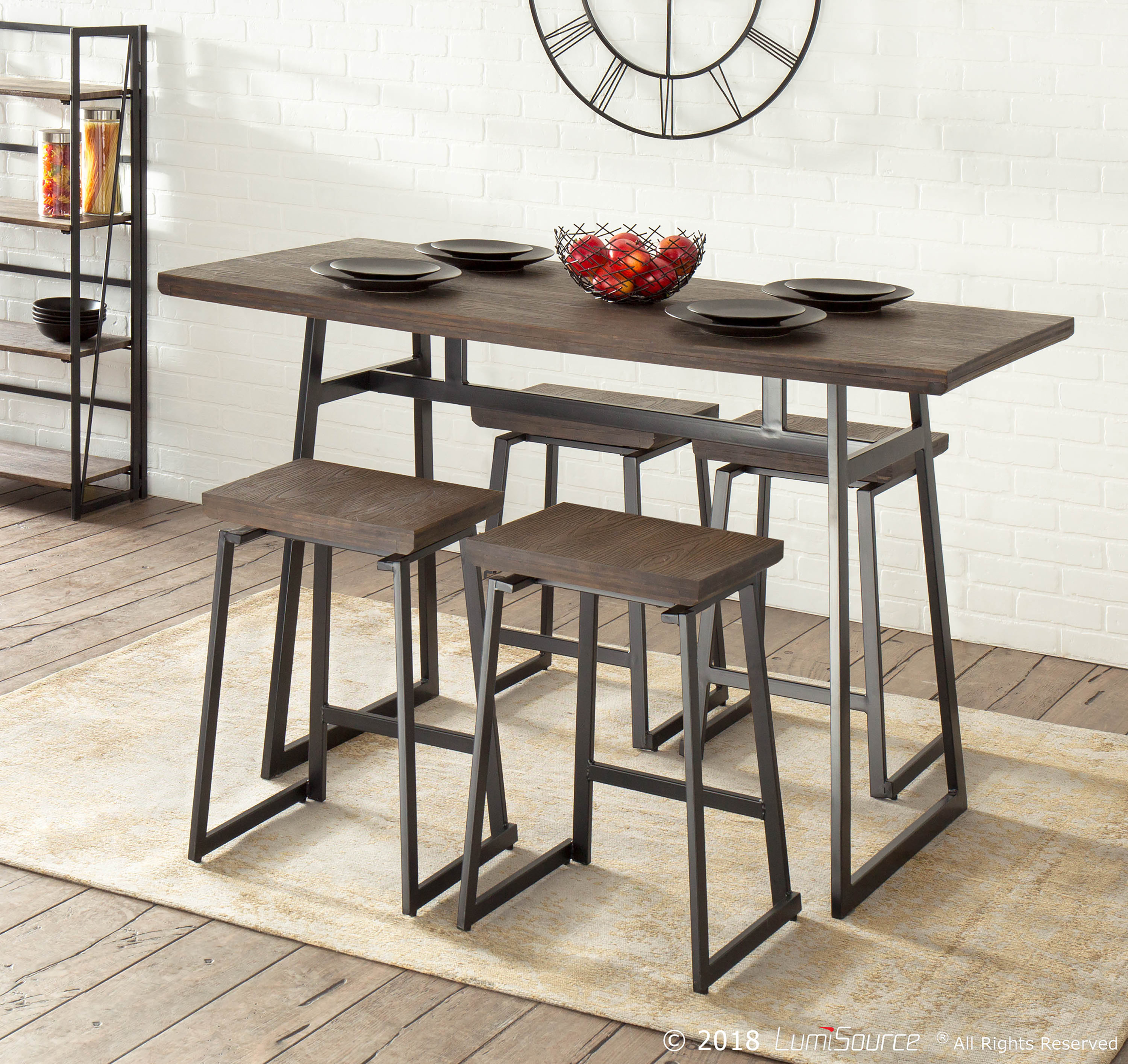 Popular Bearden 3 Piece Dining Sets For Cassiopeia Industrial 5 Piece Counter Height Dining Set & Reviews (#15 of 20)