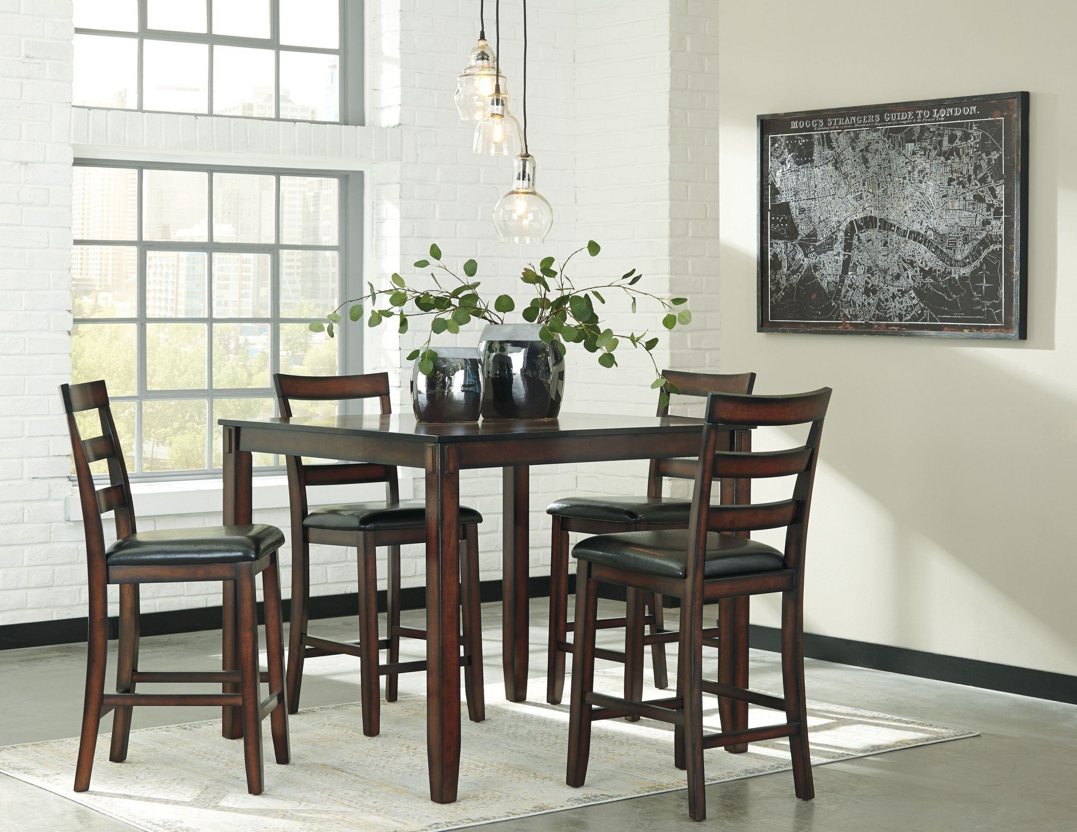 Popular Coviar Brown 5 Piece Counter Height Dining Room Set From Ashley With Regard To Lonon 3 Piece Dining Sets (View 14 of 20)