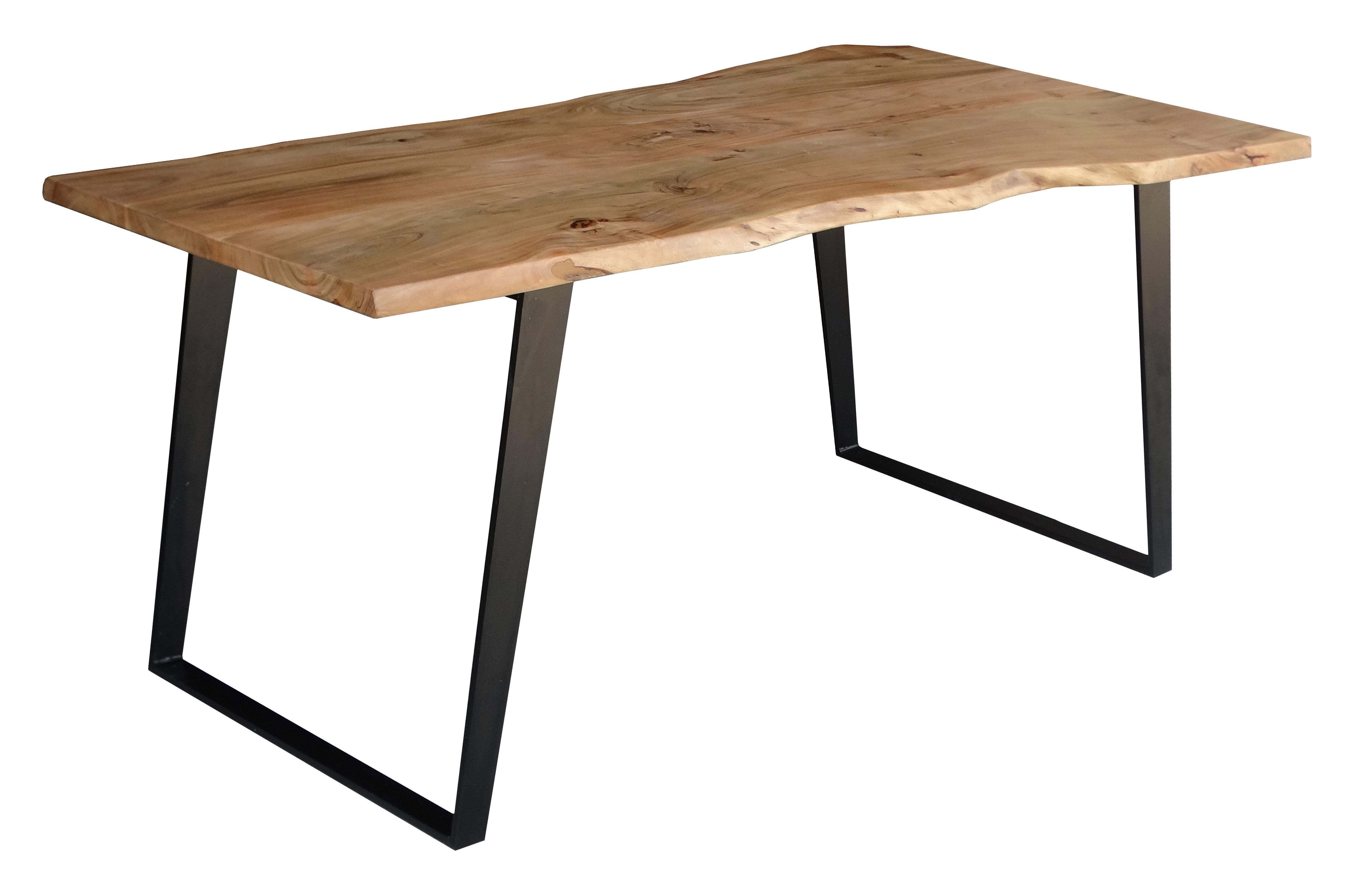 Popular Emmeline 5 Piece Breakfast Nook Dining Sets Inside Emmeline Solid Wood Live Edge Dining Table (#9 of 20)