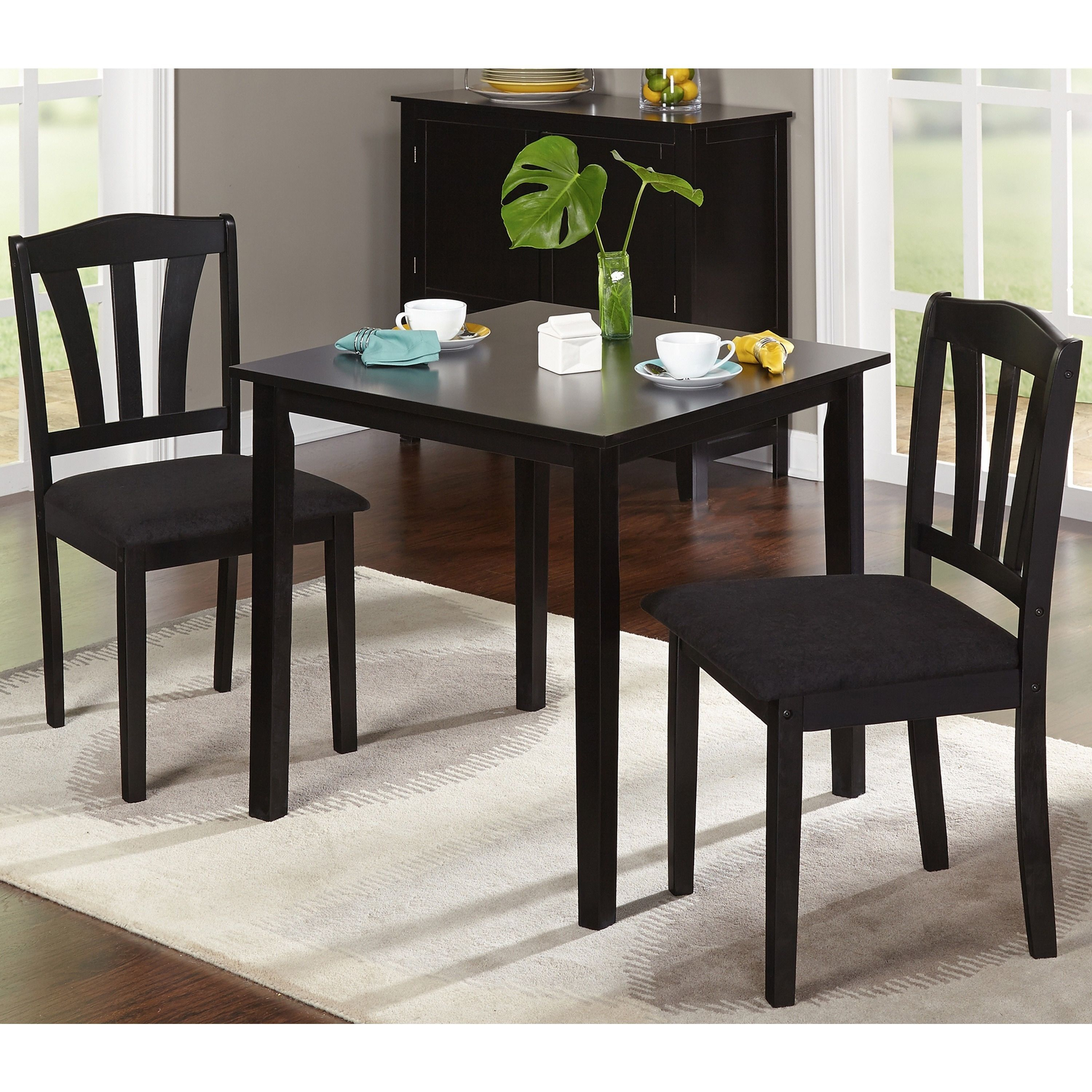 Porch & Den Third Ward Michigan 3 Piece Dining Set (Black Wood Intended For Widely Used Baillie 3 Piece Dining Sets (View 3 of 20)