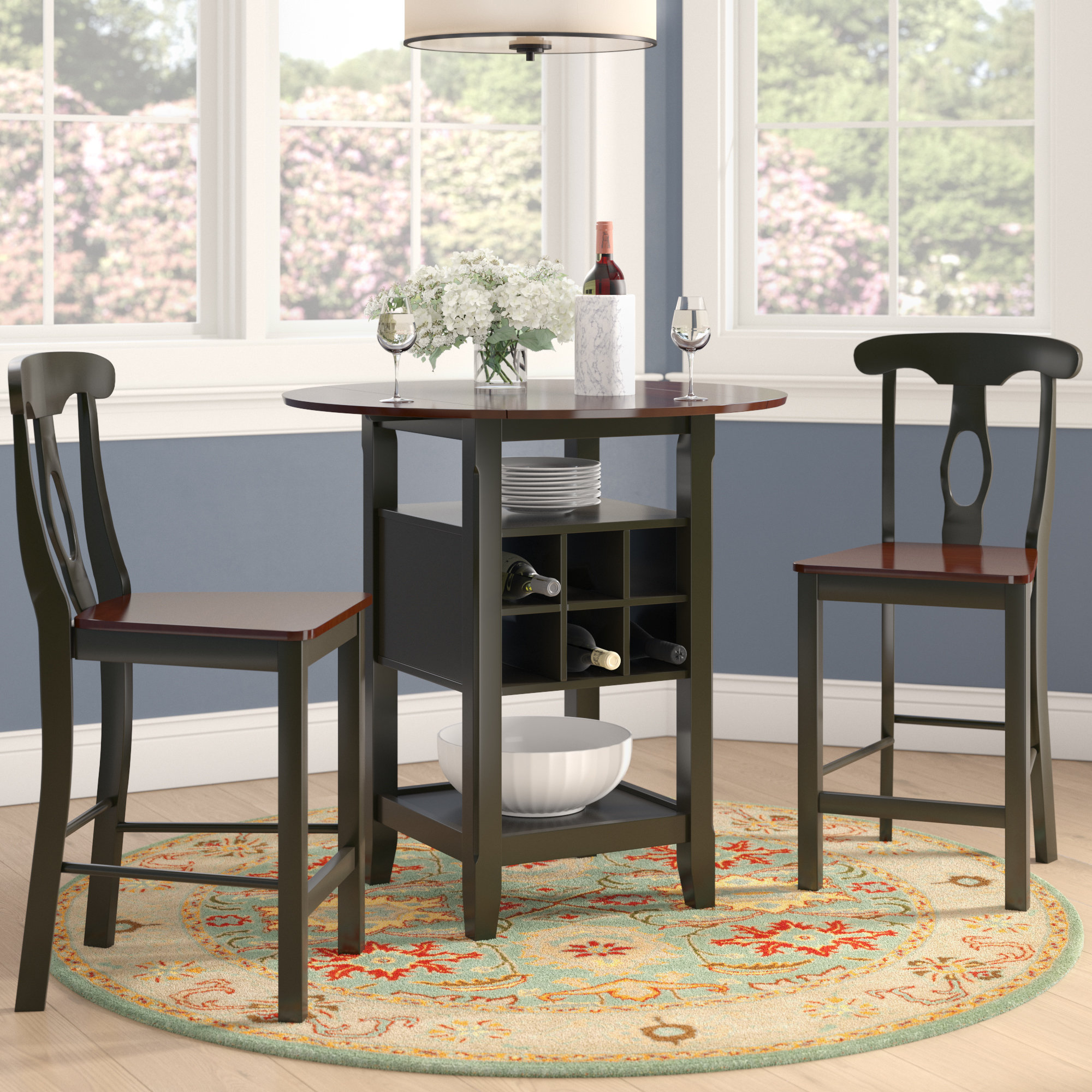 Preferred Charlton Home Teneyck 3 Piece Counter Height Pub Table Set & Reviews Regarding Hood Canal 3 Piece Dining Sets (#13 of 20)