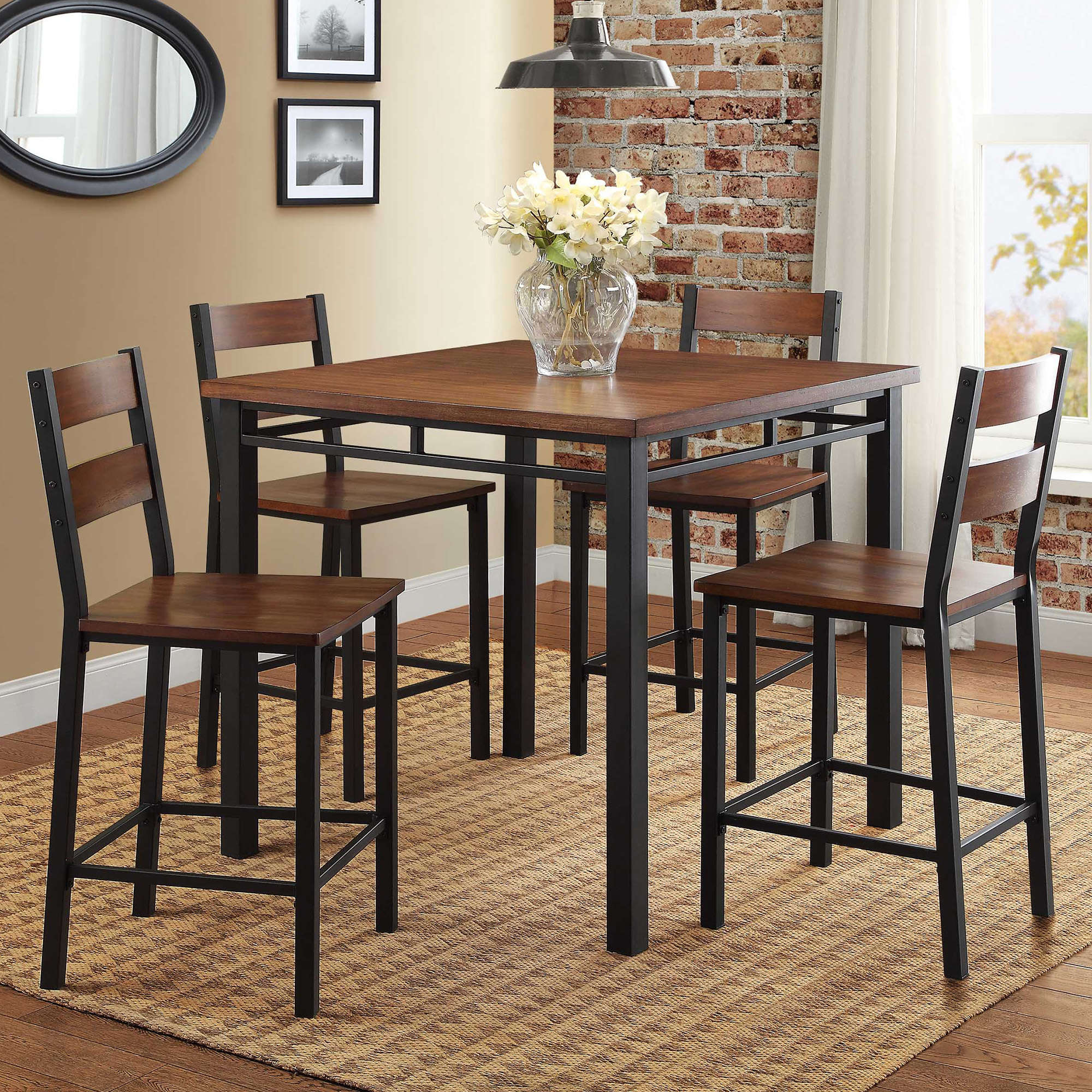 Preferred Rustic Dining Table Set High Top Counter Height Chair Kitchen Nook 5 In 5 Piece Breakfast Nook Dining Sets (#16 of 20)