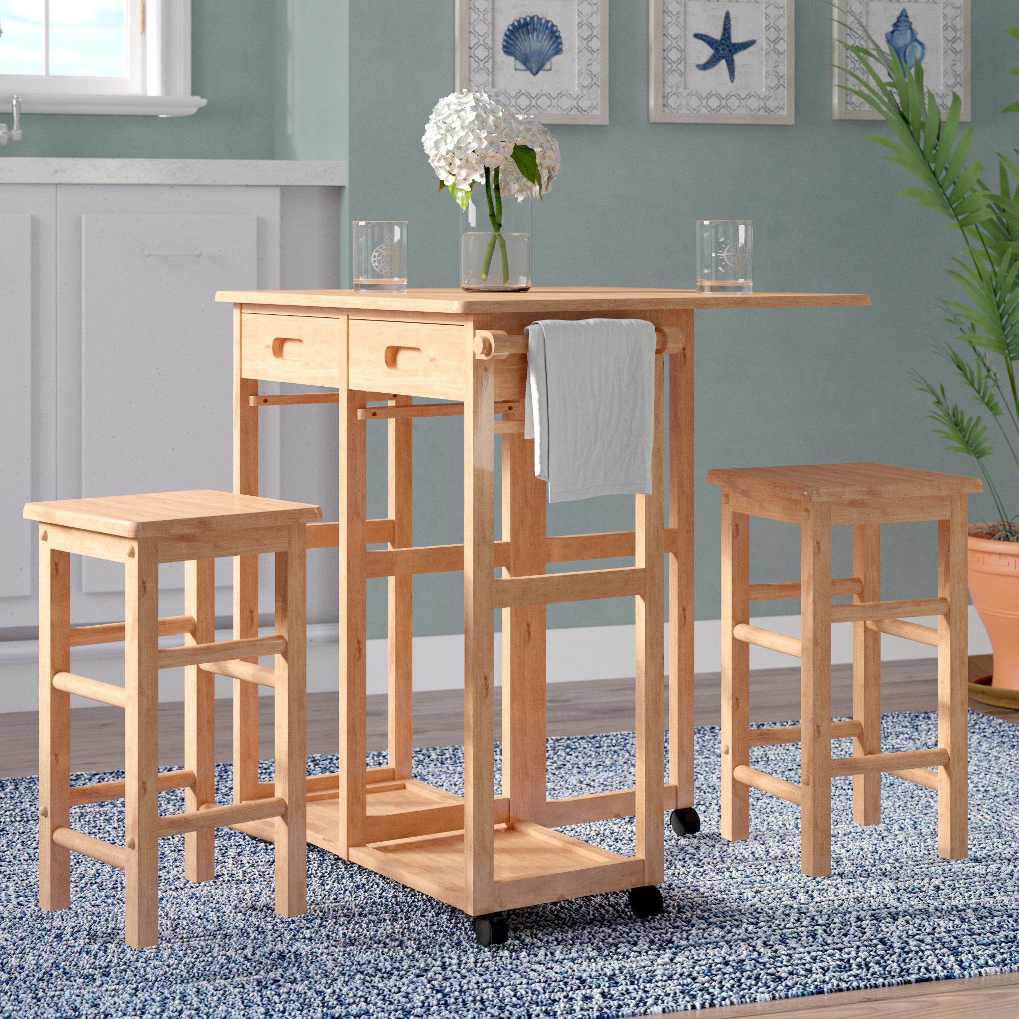 Preferred Wynyard 3 Piece Pub Table Set In  (#12 of 20)