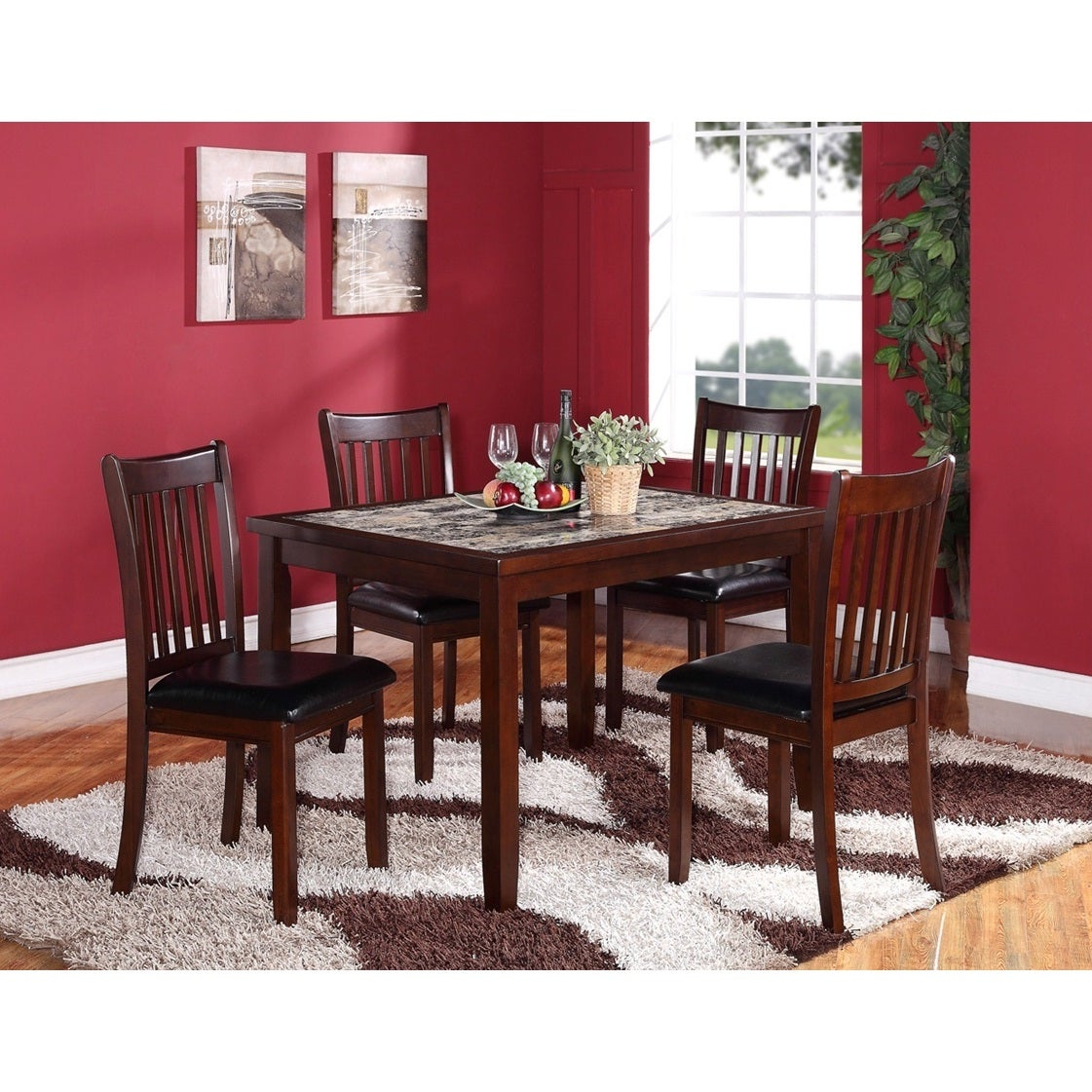 Inspiration about Recent Aria 5 Piece Dining Sets Throughout Shop 5 Piece Wooden Dining Set In Dark Brown With Artificial Marble (#8 of 20)