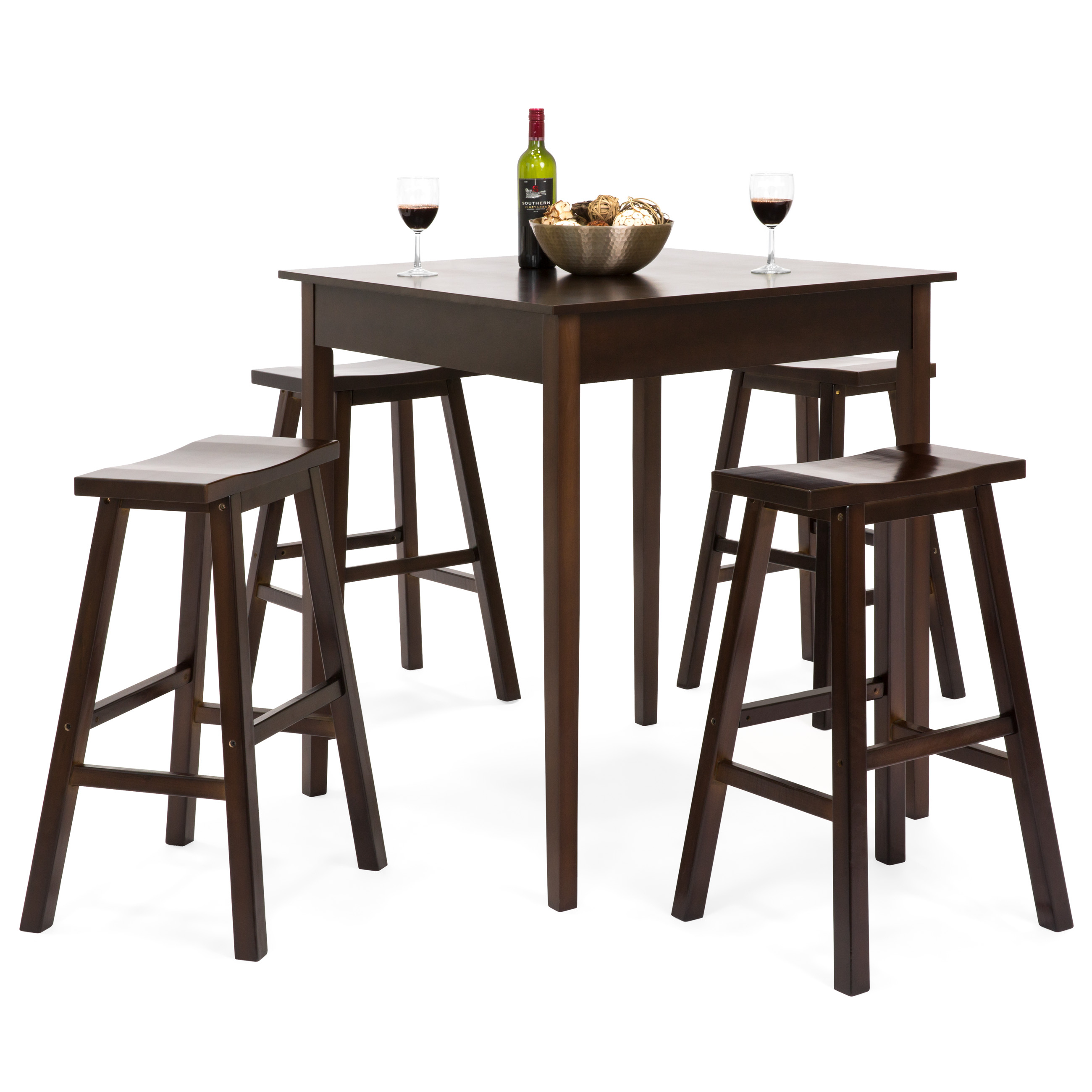 Inspiration about Recent Best Choice Products 5 Piece Solid Wood Dining Pub Bar Table Set With 4  Backless Saddle Stools Within Biggs 5 Piece Counter Height Solid Wood Dining Sets (Set Of 5) (#11 of 20)