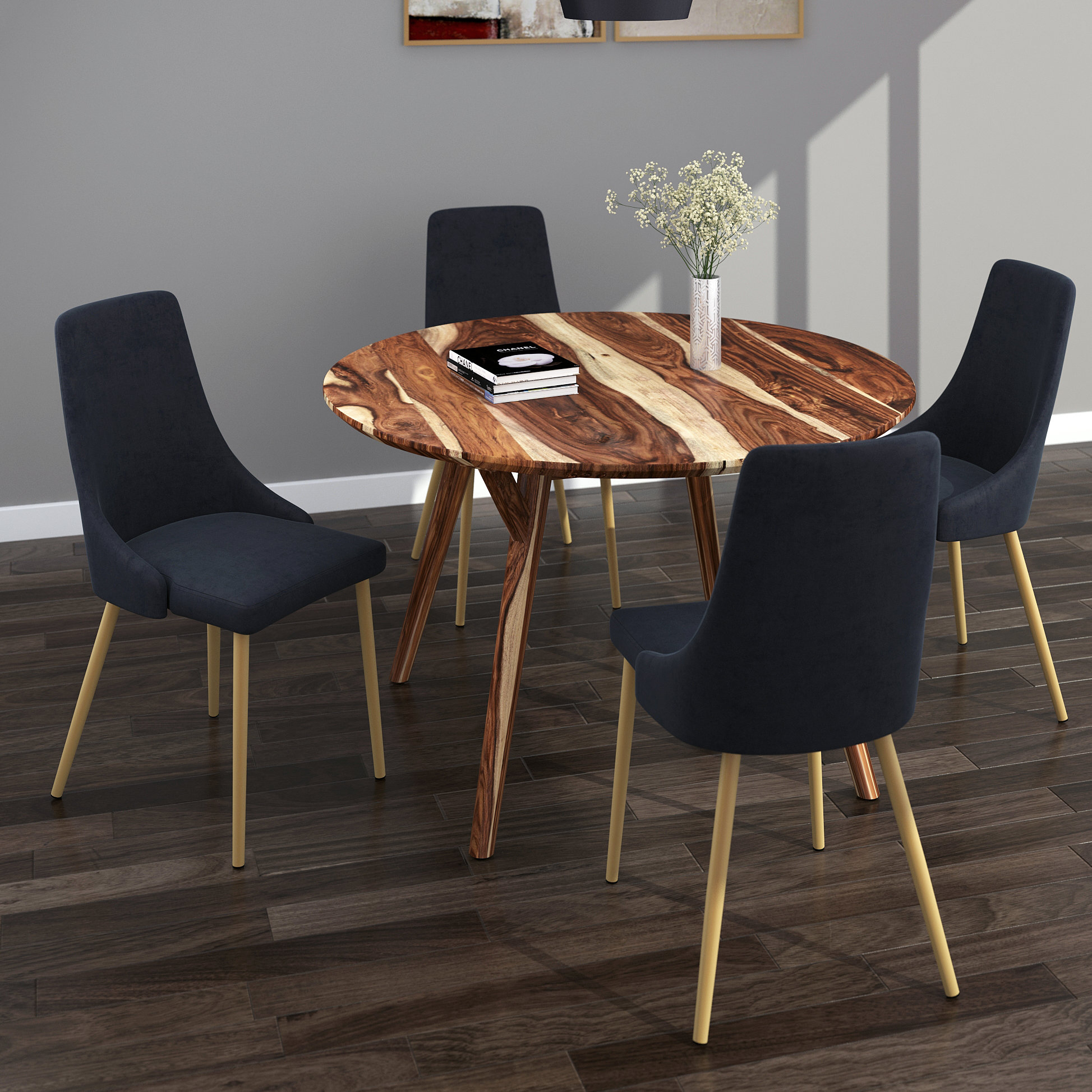 Recent Goodman 5 Piece Solid Wood Dining Sets (Set Of 5) Inside Bixby 5 Piece Dining Set (#14 of 20)