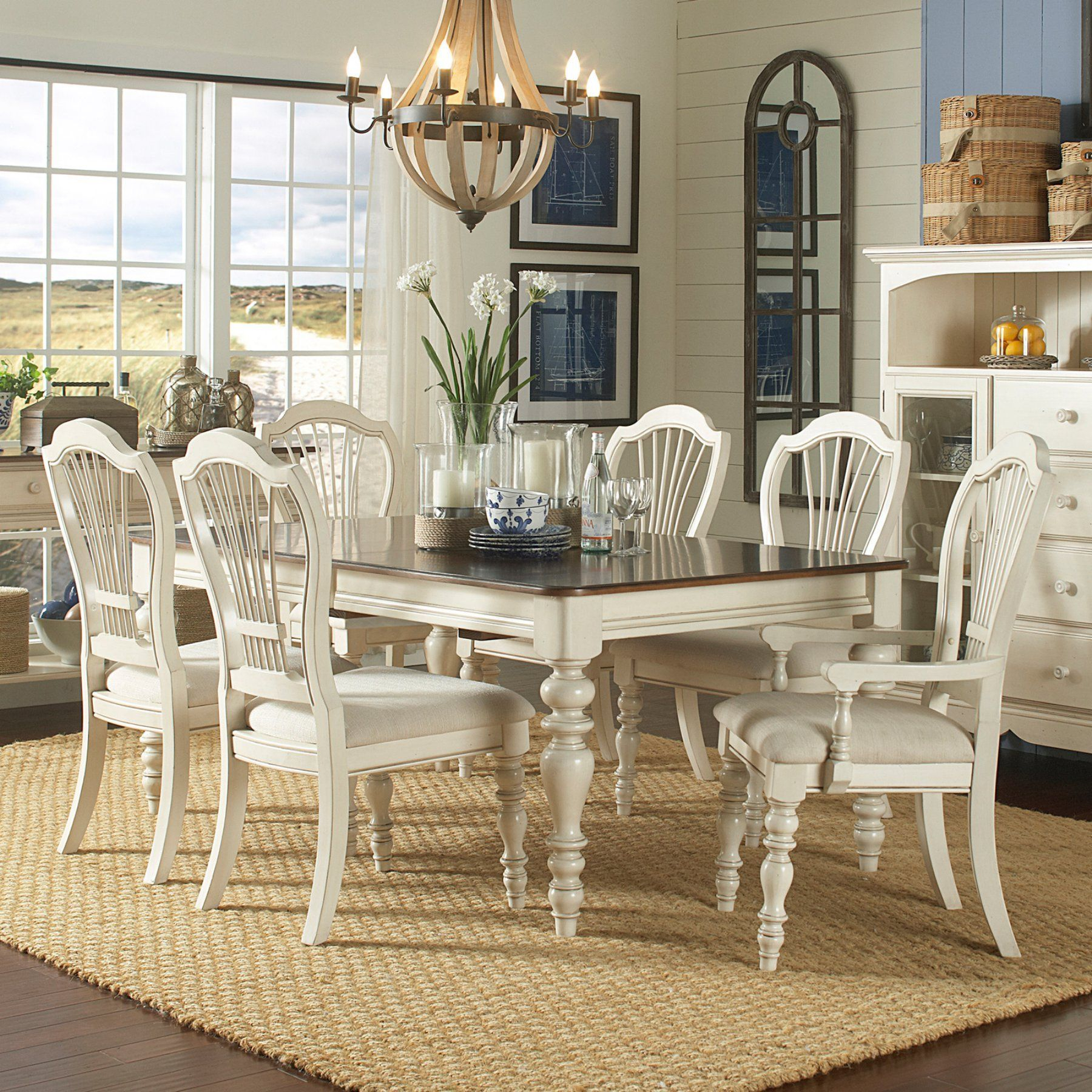 Recent Mitzel 3 Piece Dining Sets For Hillsdale Pine Island 7 Piece Dining Table Set With Wheat Back (View 19 of 20)