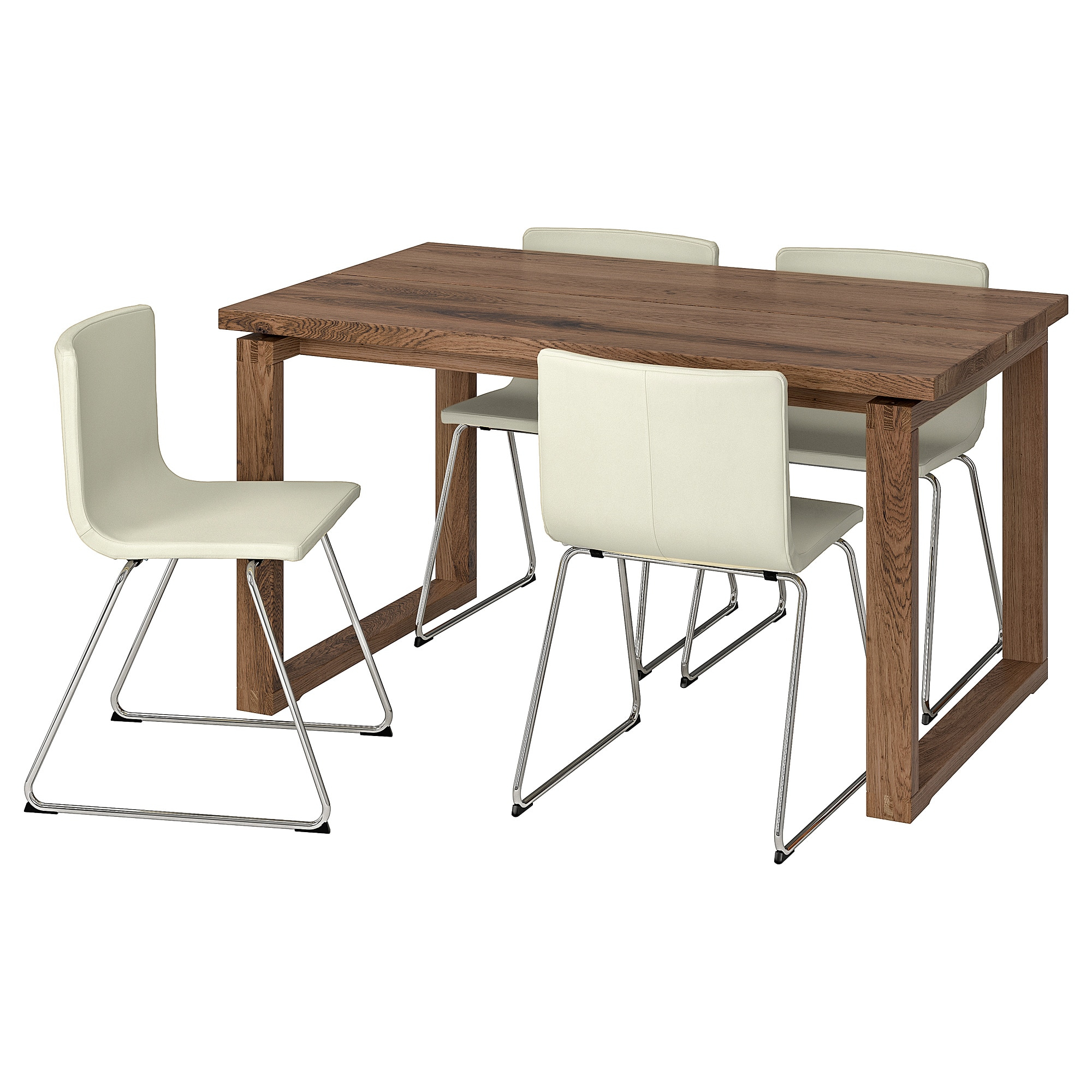 Recent Mörbylånga / Bernhard Table And 4 Chairs – Brown, Mjuk White – Ikea For Castellanos Modern 5 Piece Counter Height Dining Sets (View 12 of 20)