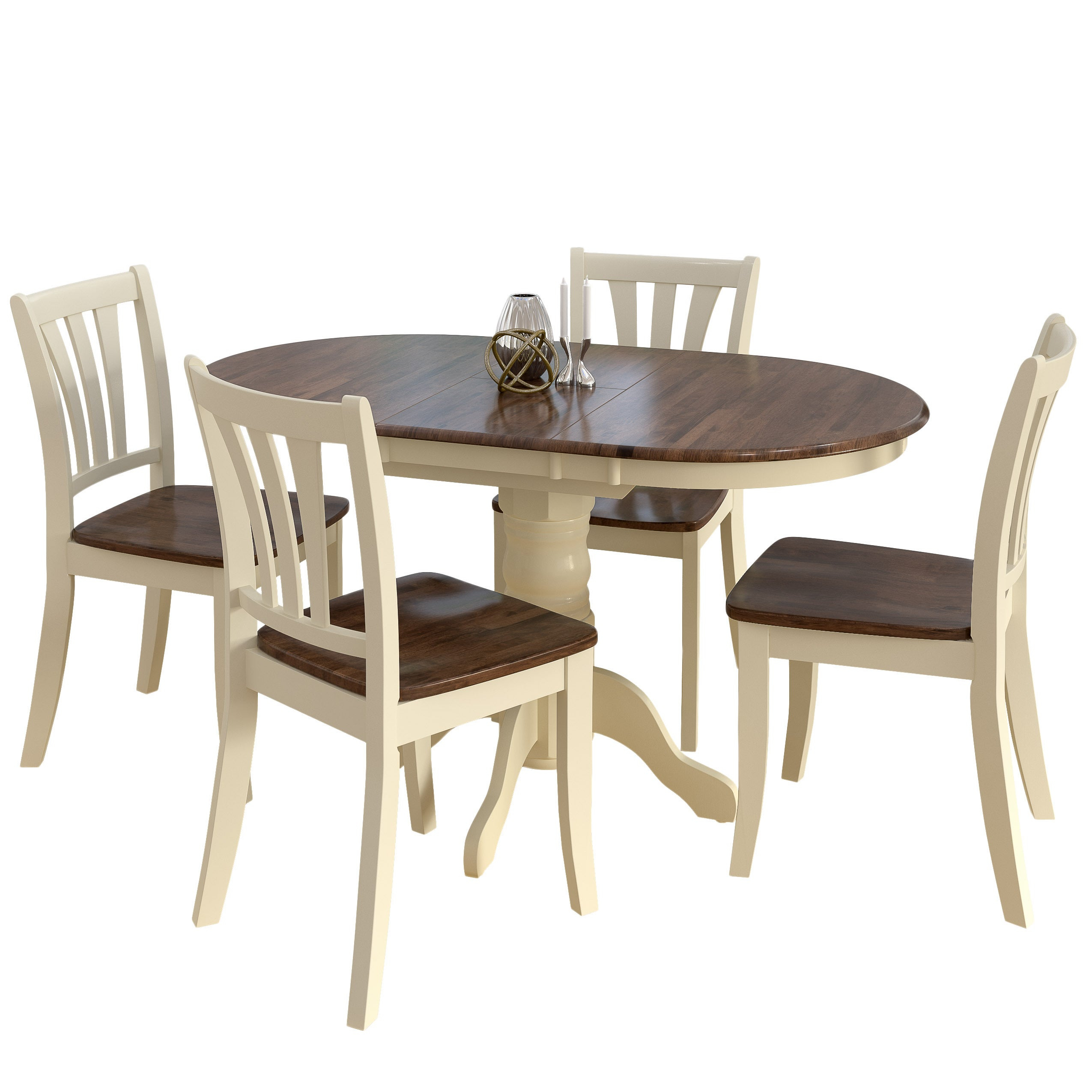 Recent North Reading 5 Piece Dining Table Sets Inside Shop Copper Grove Korcula Dark Brown And Cream Solid Wood Extendable (#12 of 20)