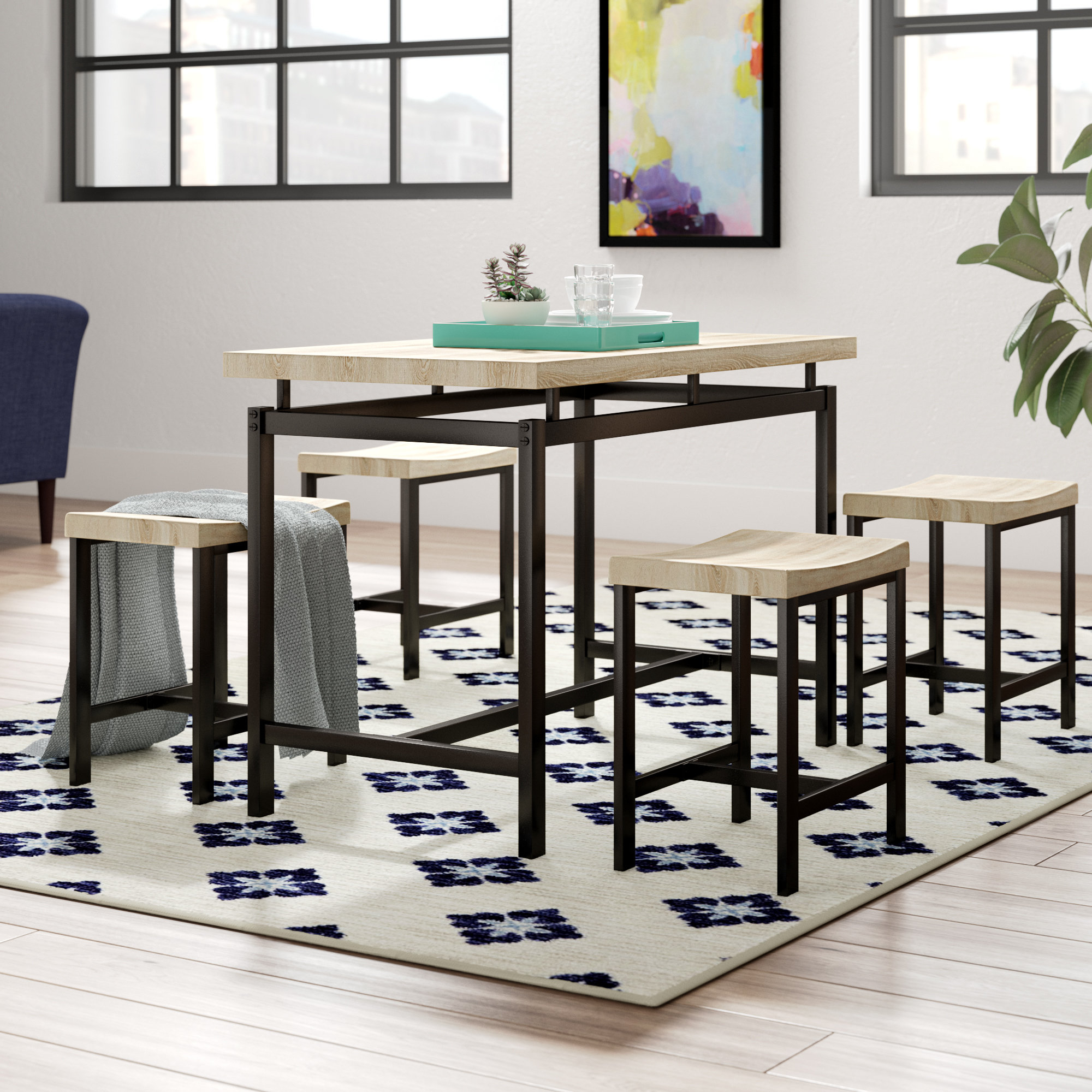 Inspiration about Recent Presson 3 Piece Counter Height Dining Sets In Wrought Studio Bryson 5 Piece Dining Set & Reviews (#2 of 20)