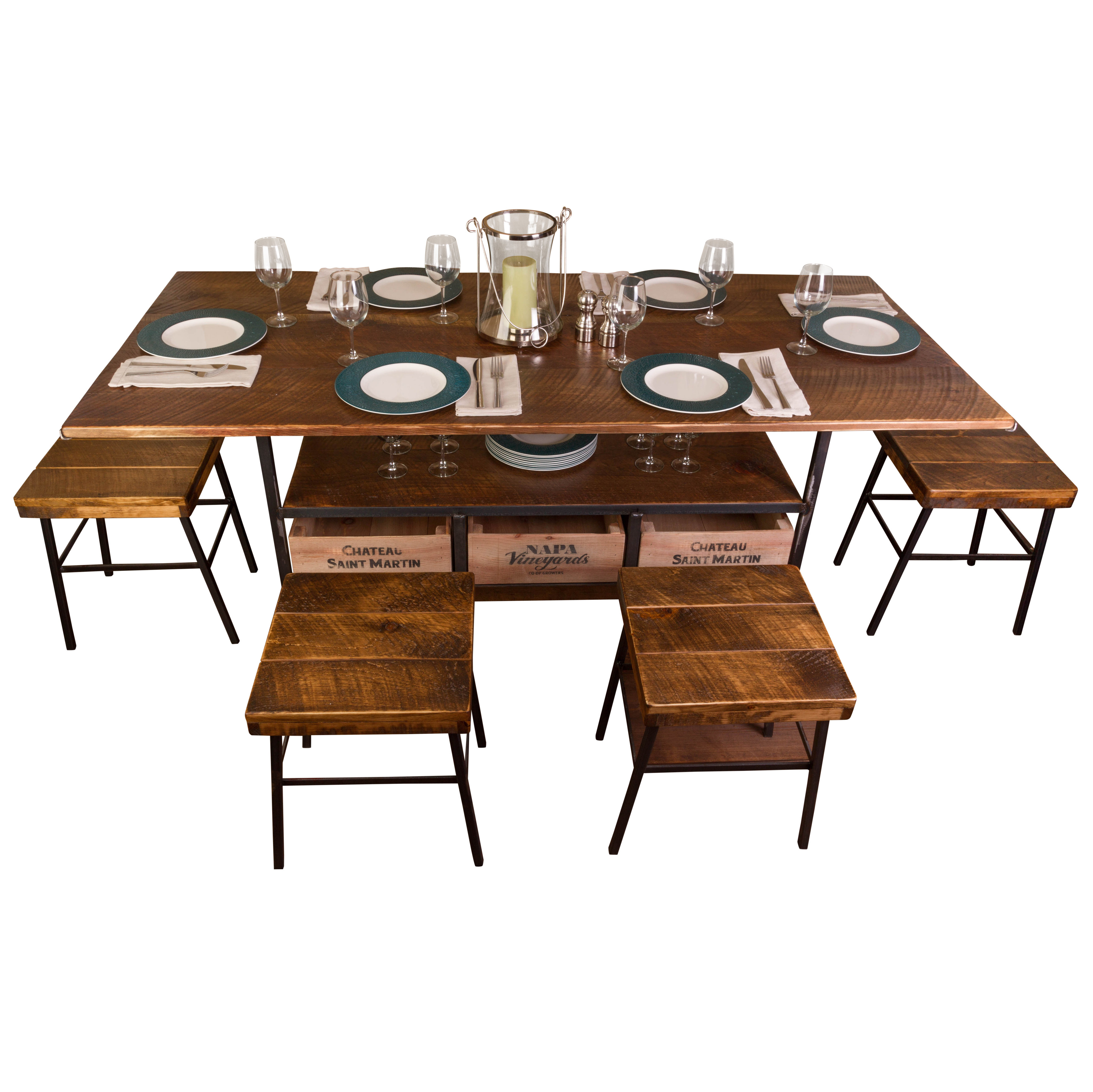 Inspiration about Recent Vino Vintage Farm 7 Piece Dining Table (#7 of 20)