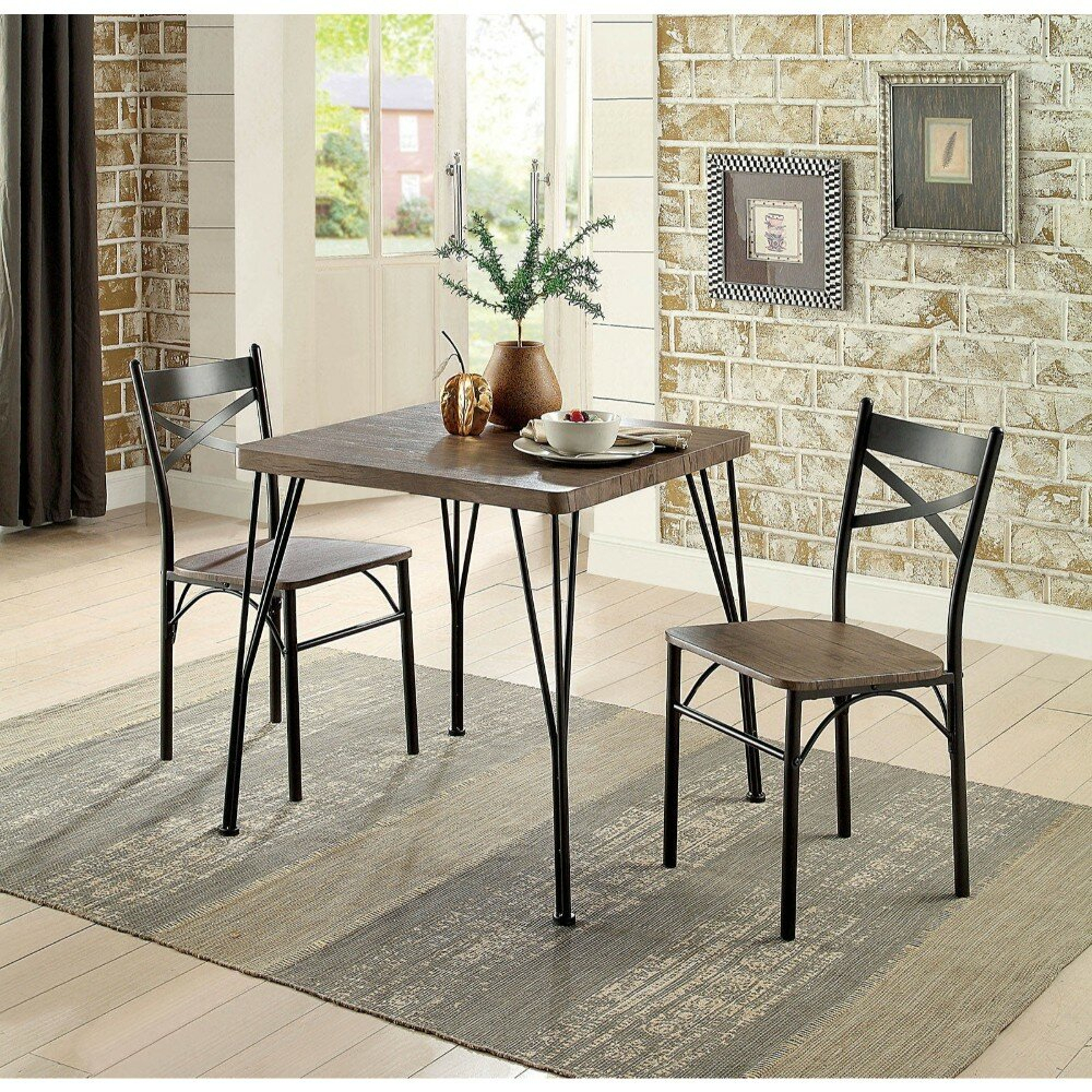 Recent Williston Forge Marquez Transitional 3 Piece Solid Wood Dining Set Inside Isolde 3 Piece Dining Sets (#8 of 20)