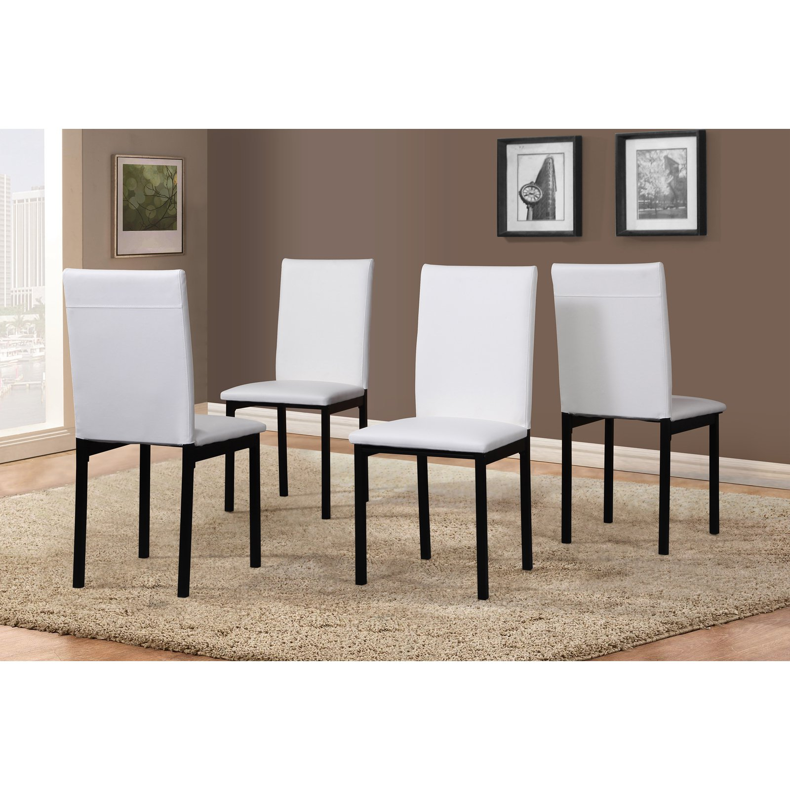 Inspiration about Roundhill Noyes Faux Leather Seat Metal Frame White Dining Chairs Inside Most Recently Released Noyes 5 Piece Dining Sets (#10 of 20)