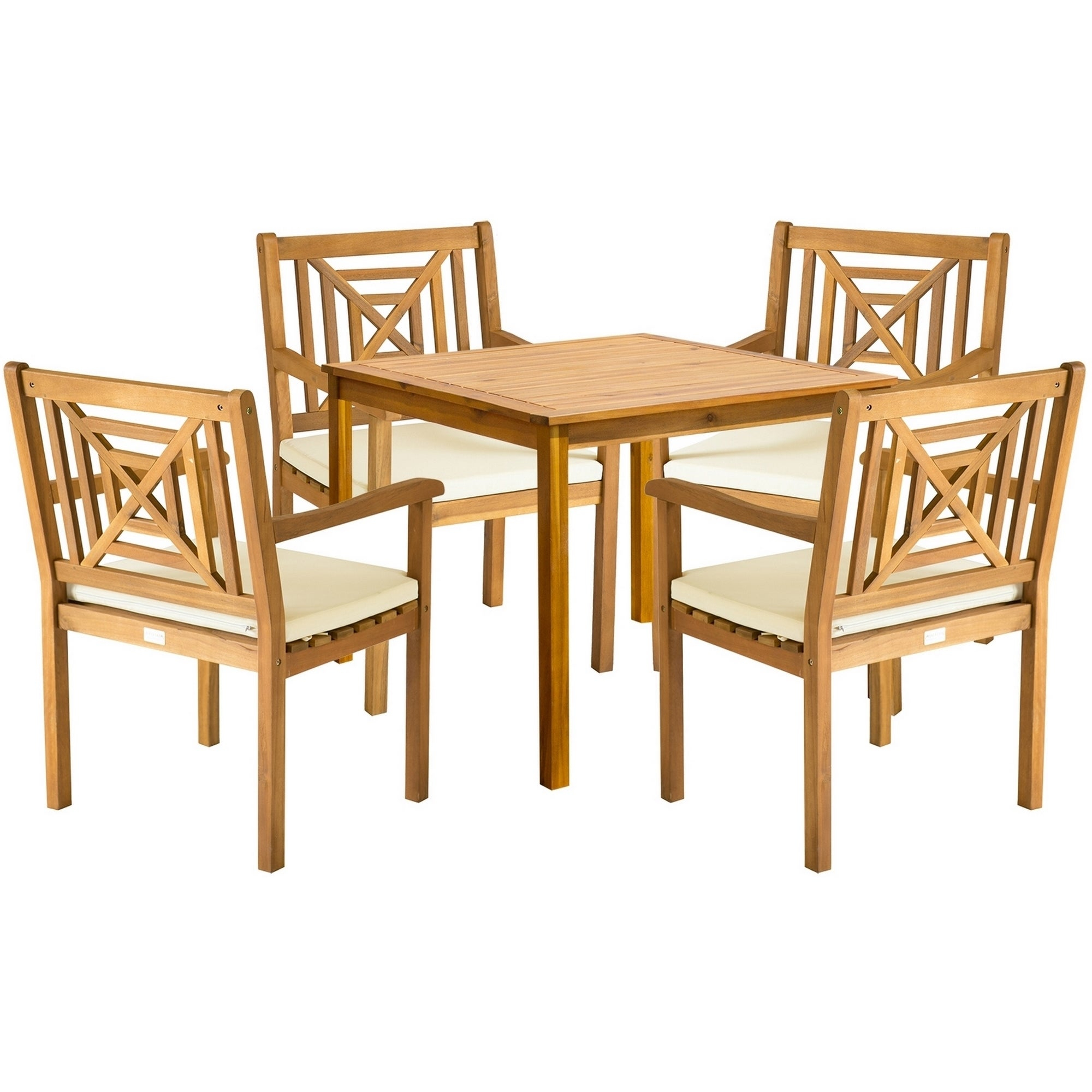 Safavieh Outdoor Living Del Mar Brown Acacia Wood 5 Piece Beige For Latest Delmar 5 Piece Dining Sets (View 12 of 20)