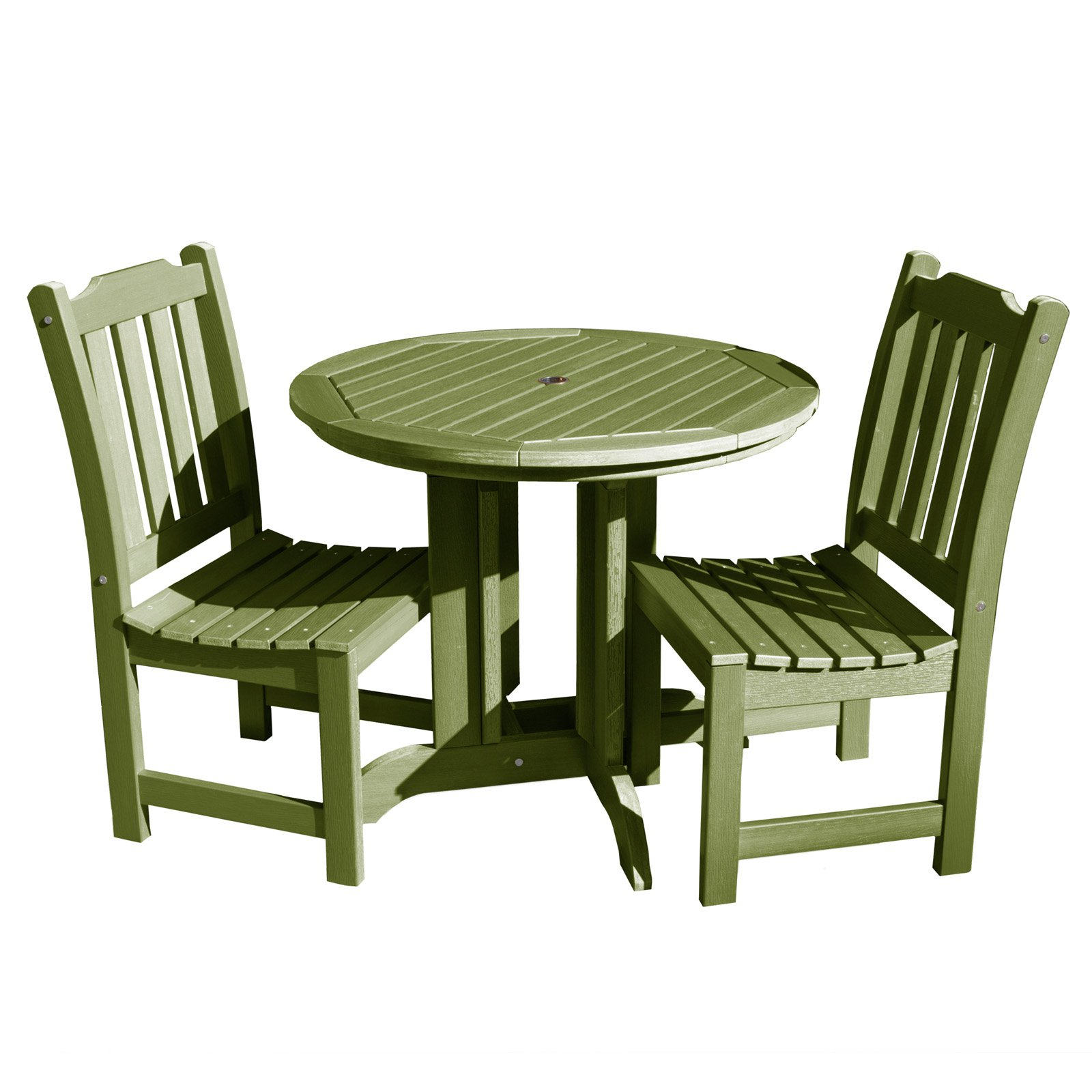 Saintcroix 3 Piece Dining Sets Intended For Most Up To Date Outdoor Highwood Lehigh Recycled Plastic 3 Piece Round Patio Bistro (#16 of 20)
