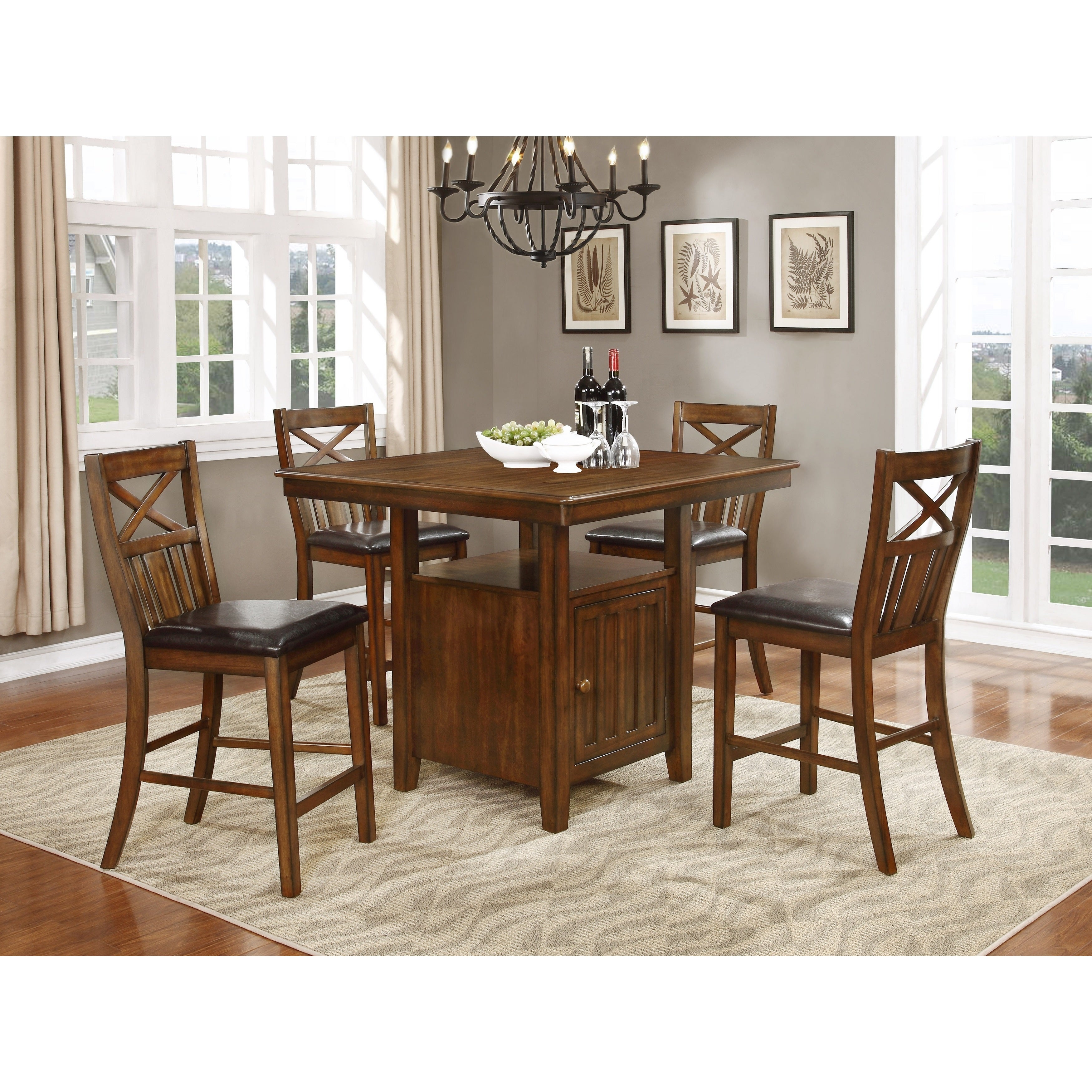 Shop Bryson Cherry Brown Counter Height Dining Table Set W/ Storage Inside Most Recent Bryson 5 Piece Dining Sets (#15 of 20)