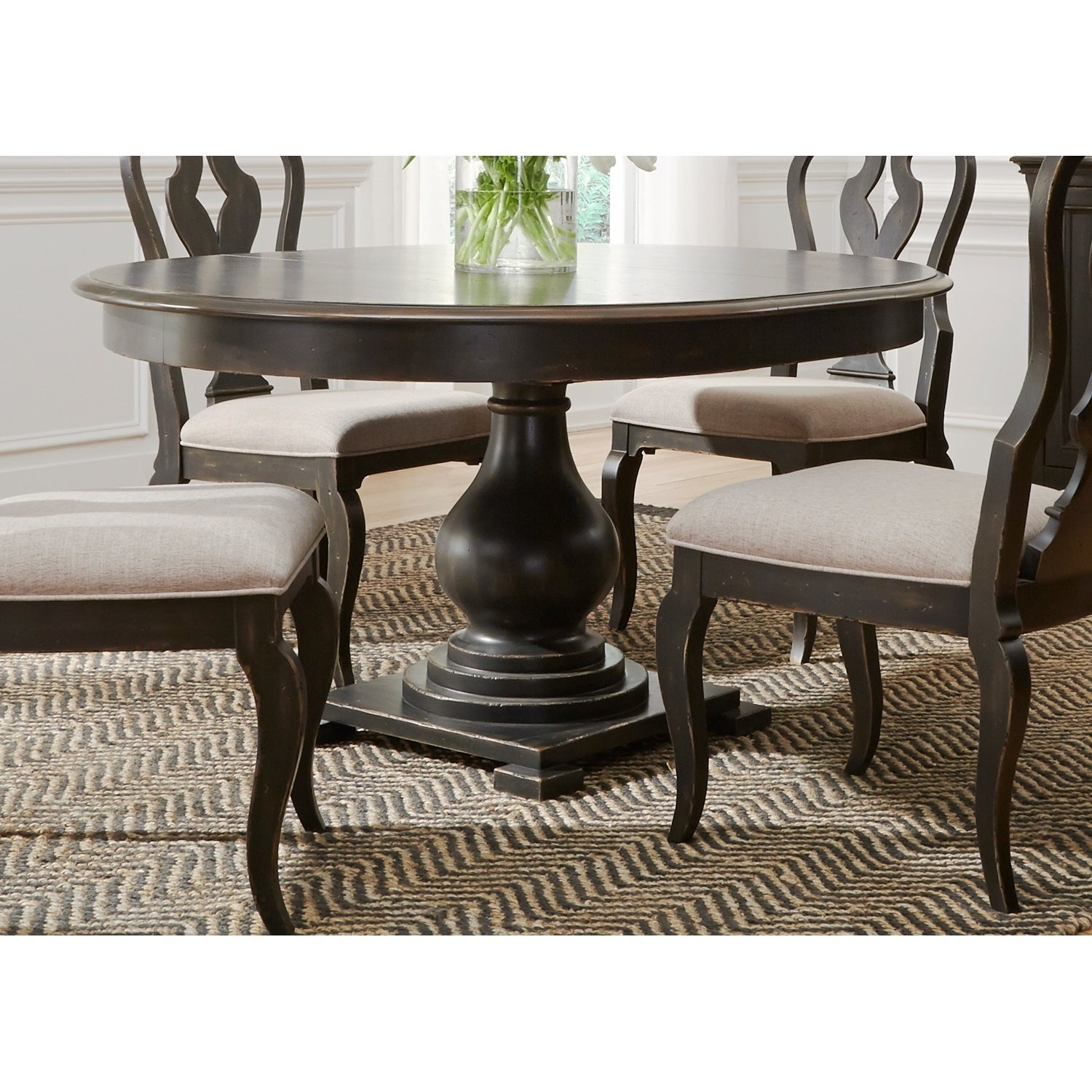 Shop Chesapeake Wire Brushed Antique Black 48X60 Pedestal Dinette With Regard To 2019 Debby Small Space 3 Piece Dining Sets (#15 of 20)