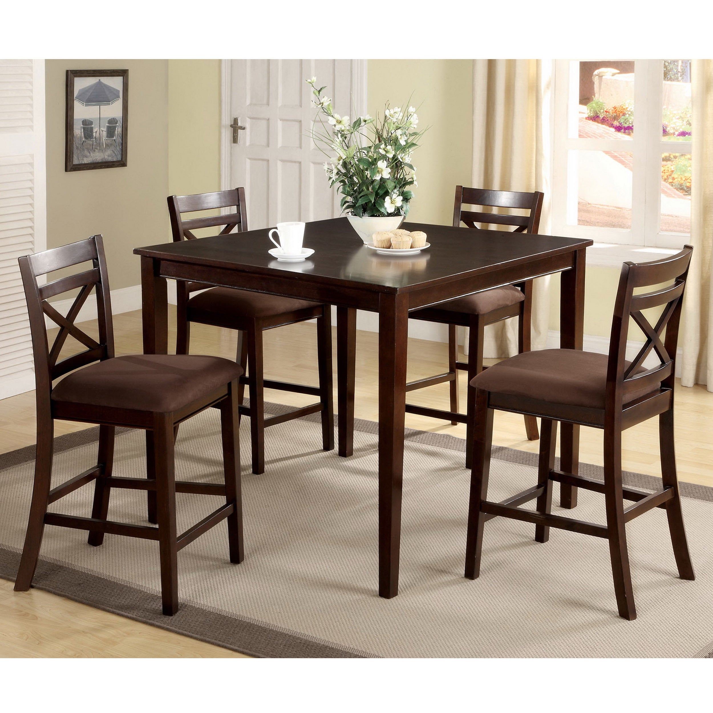 Shop Copper Grove Catlerock 5 Piece Counter Height Dining Set – On Within Widely Used Bettencourt 3 Piece Counter Height Dining Sets (#17 of 20)
