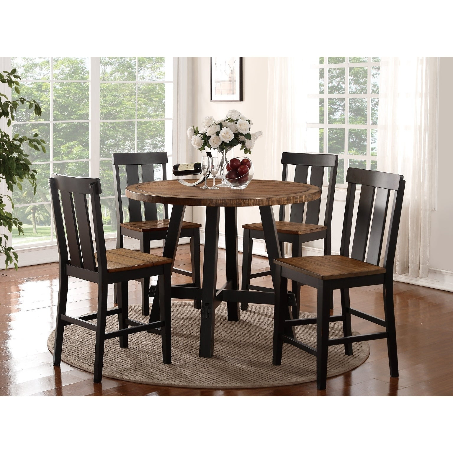 Shop Goodman 5 Piece Counter Height Dining Set – Free Shipping Today Throughout Newest Goodman 5 Piece Solid Wood Dining Sets (Set Of 5) (View 15 of 20)