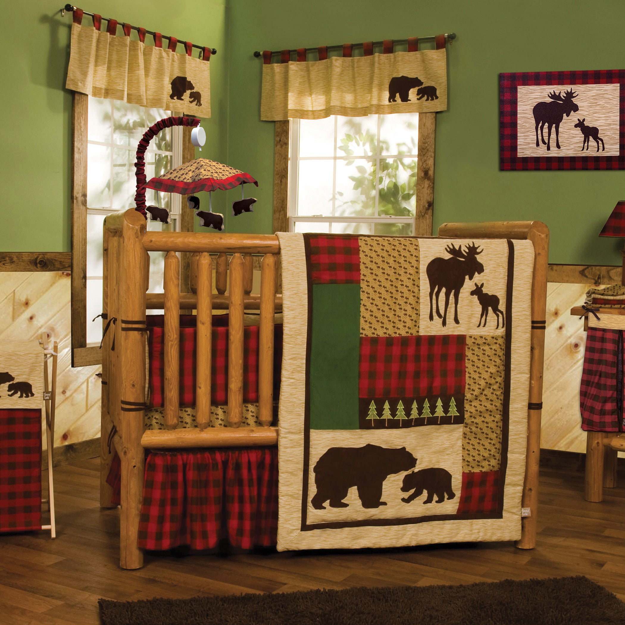 Shop Northwoods 3 Piece Buffalo Check Crib Bedding Set – Free Regarding Recent Northwoods 3 Piece Dining Sets (#16 of 20)