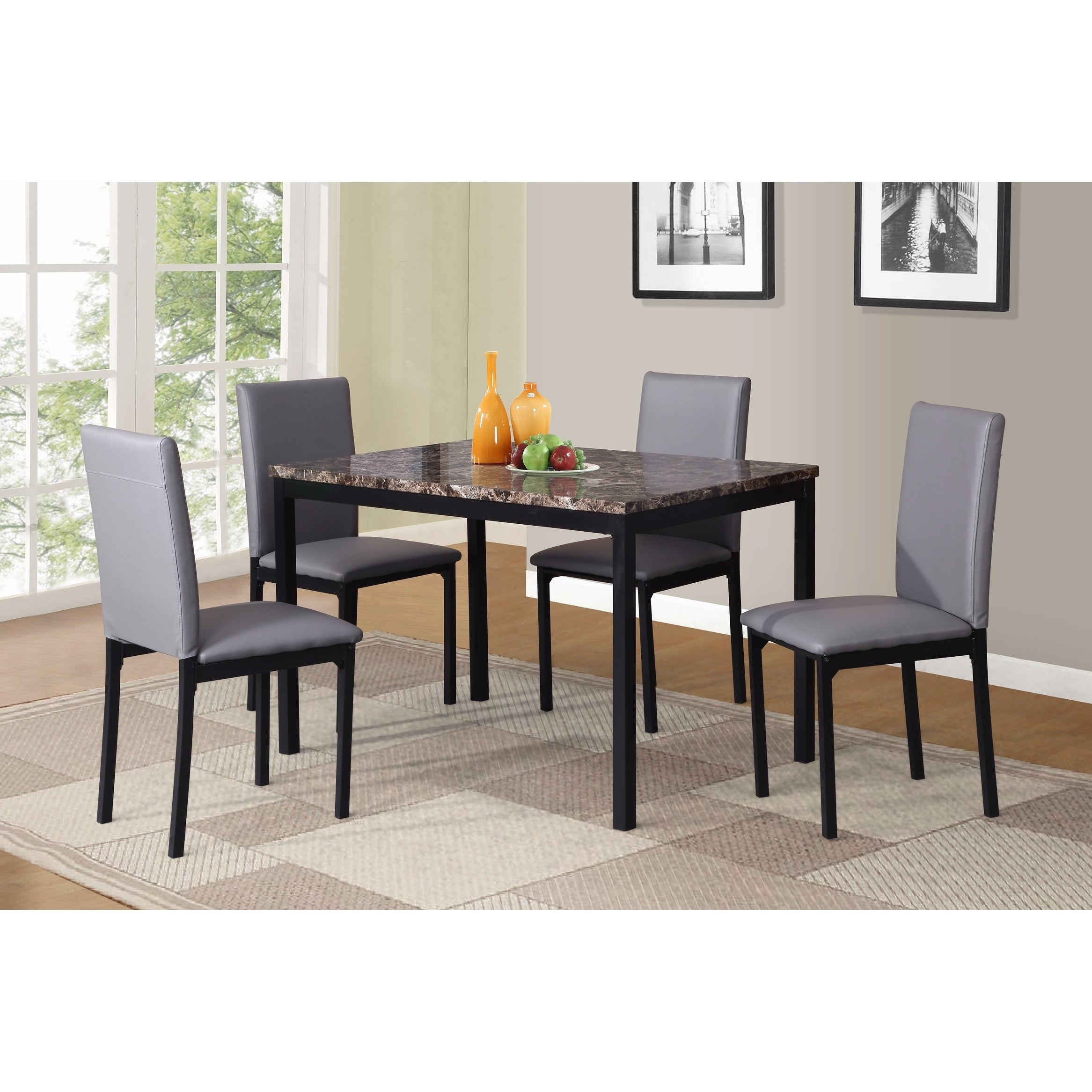 Shop Noyes Faux Leather Seat Metal Frame Black Dining Chairs, Set Of For Famous Noyes 5 Piece Dining Sets (#14 of 20)