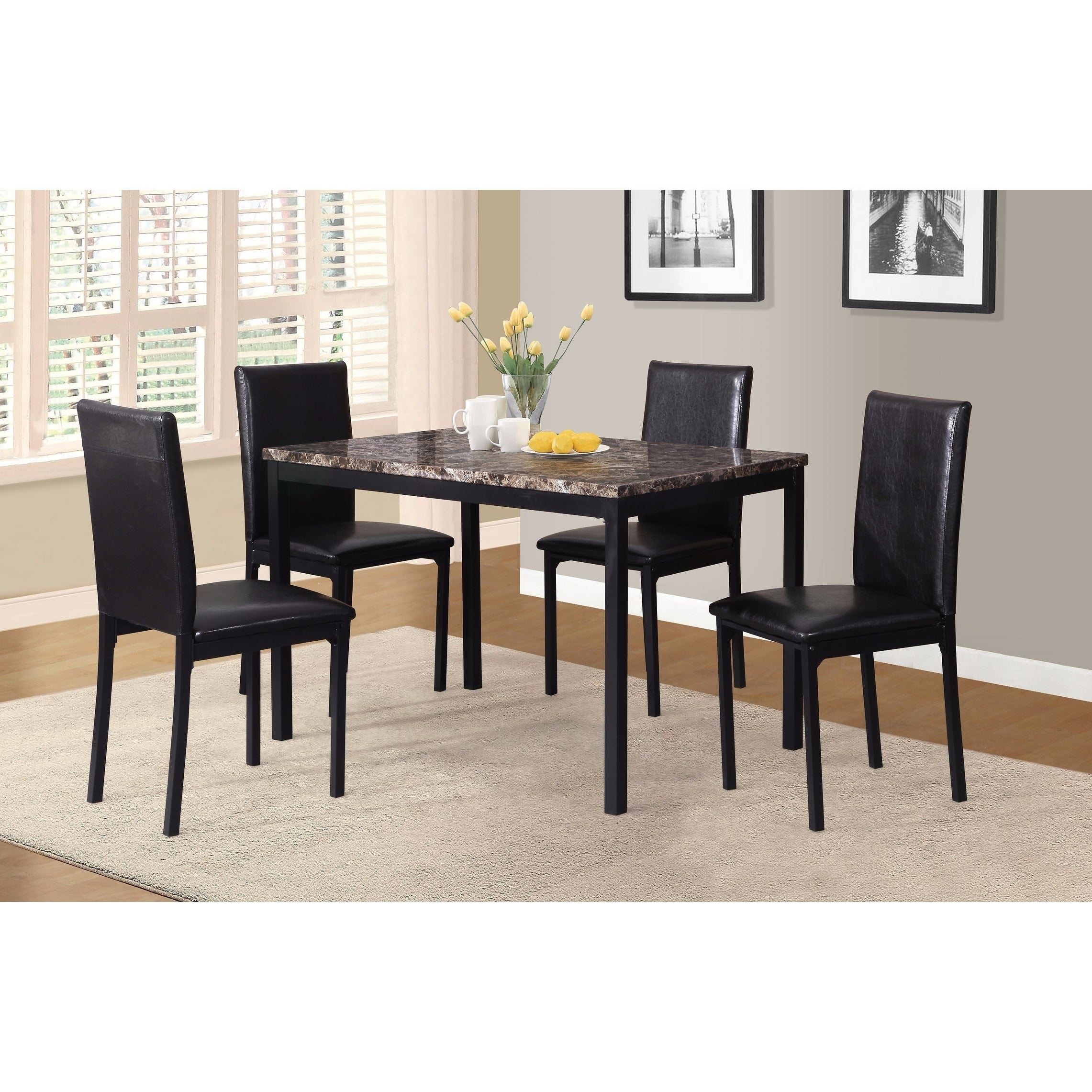 Shop Noyes Metal Dining Table With Laminated Faux Marble Top – Black Within Trendy Noyes 5 Piece Dining Sets (#15 of 20)