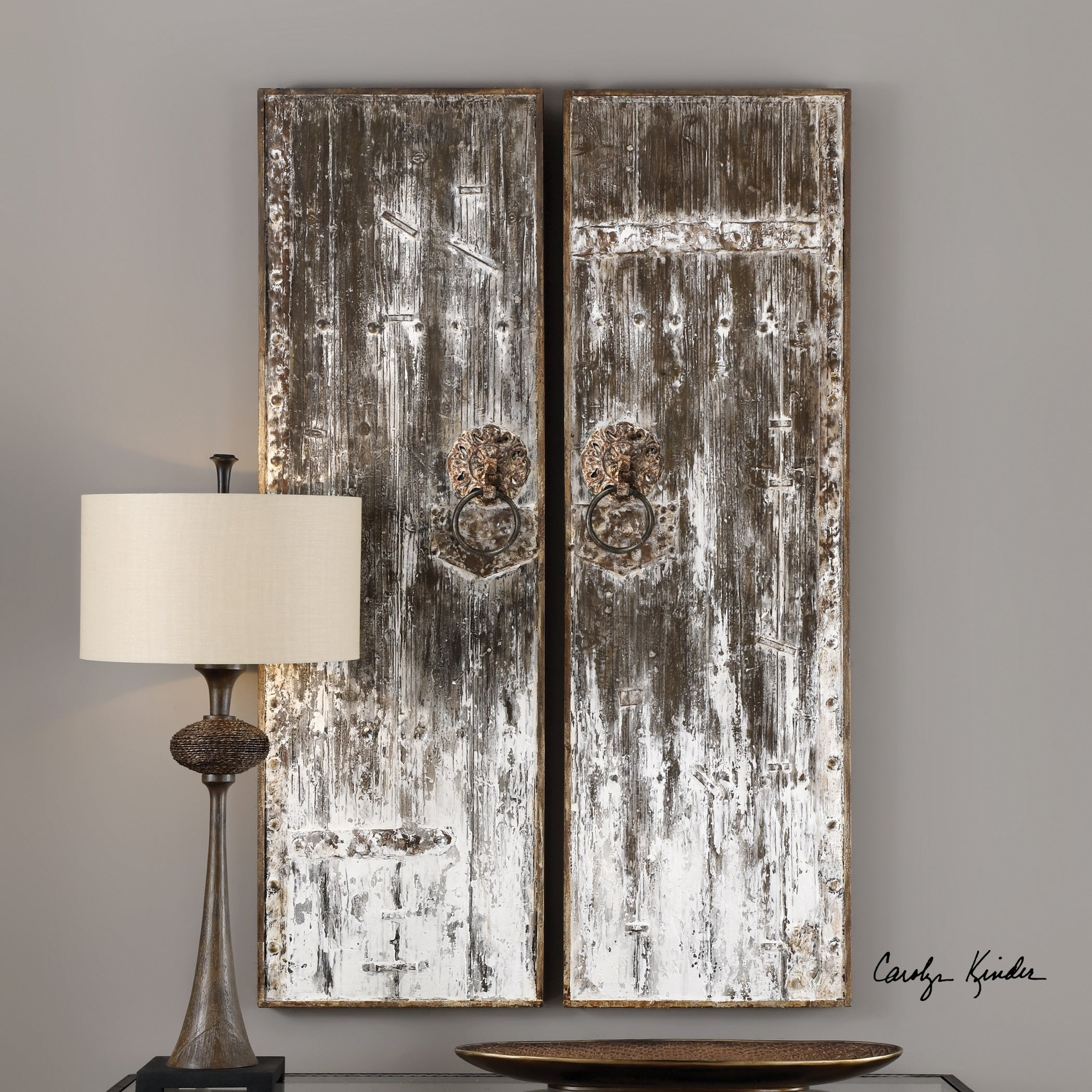 Shop Uttermost Giles Aged Wood Wall Art (Set Of 2) – Free Shipping Throughout 2020 Giles 3 Piece Dining Sets (#15 of 20)