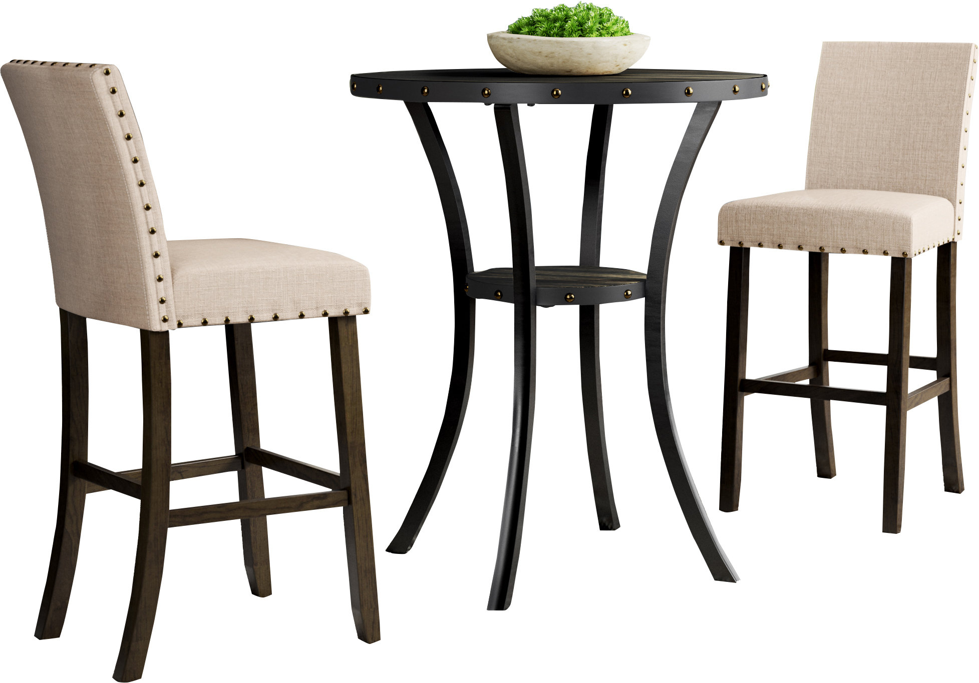 Smyrna 3 Piece Dining Sets Within Fashionable Haysi 3 Piece Pub Table Set & Reviews (View 11 of 20)
