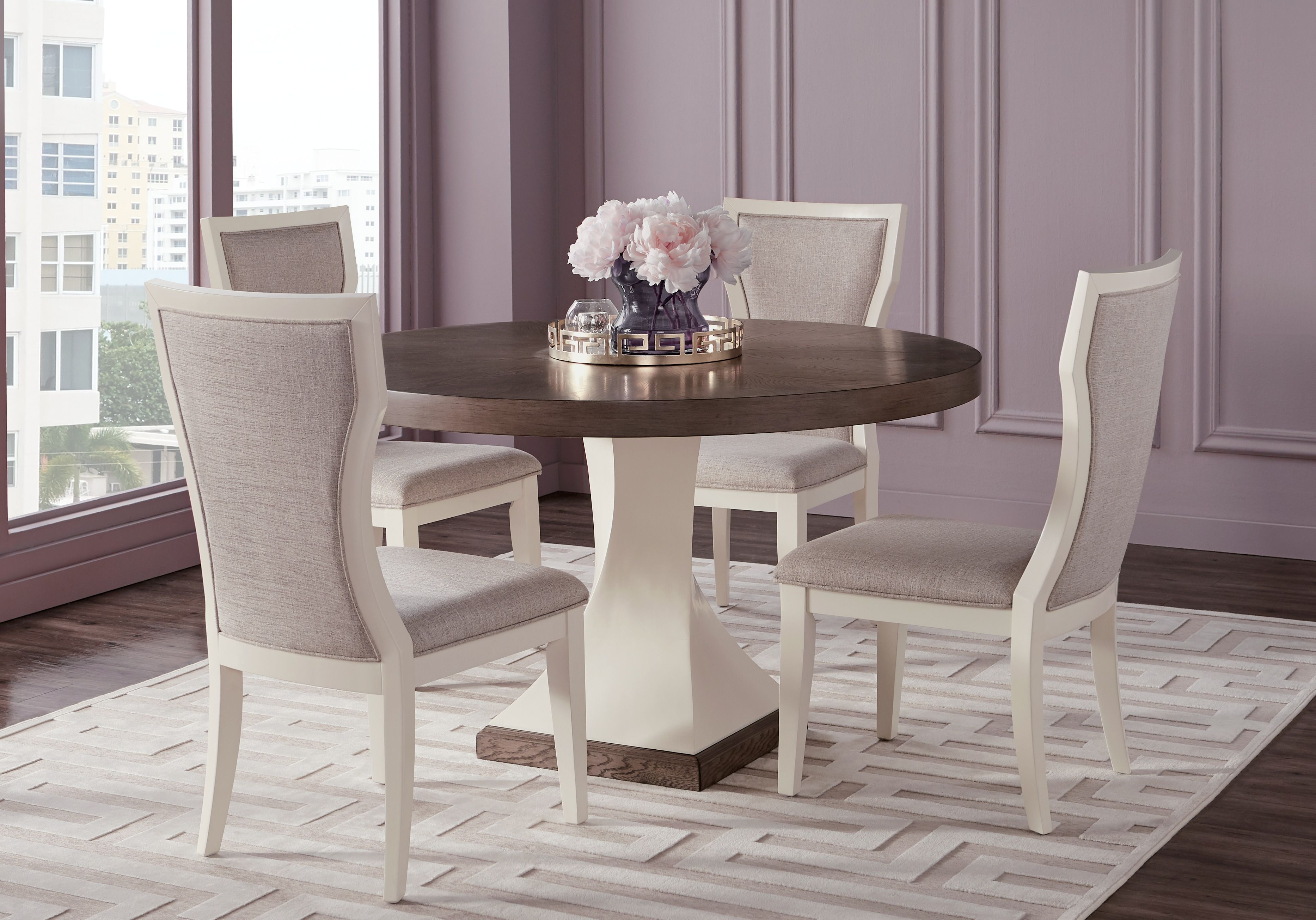 Sofia Vergara Santa Fiora White 5 Pc Round Dining Room In 2019 With 2017 Lamotte 5 Piece Dining Sets (View 16 of 20)