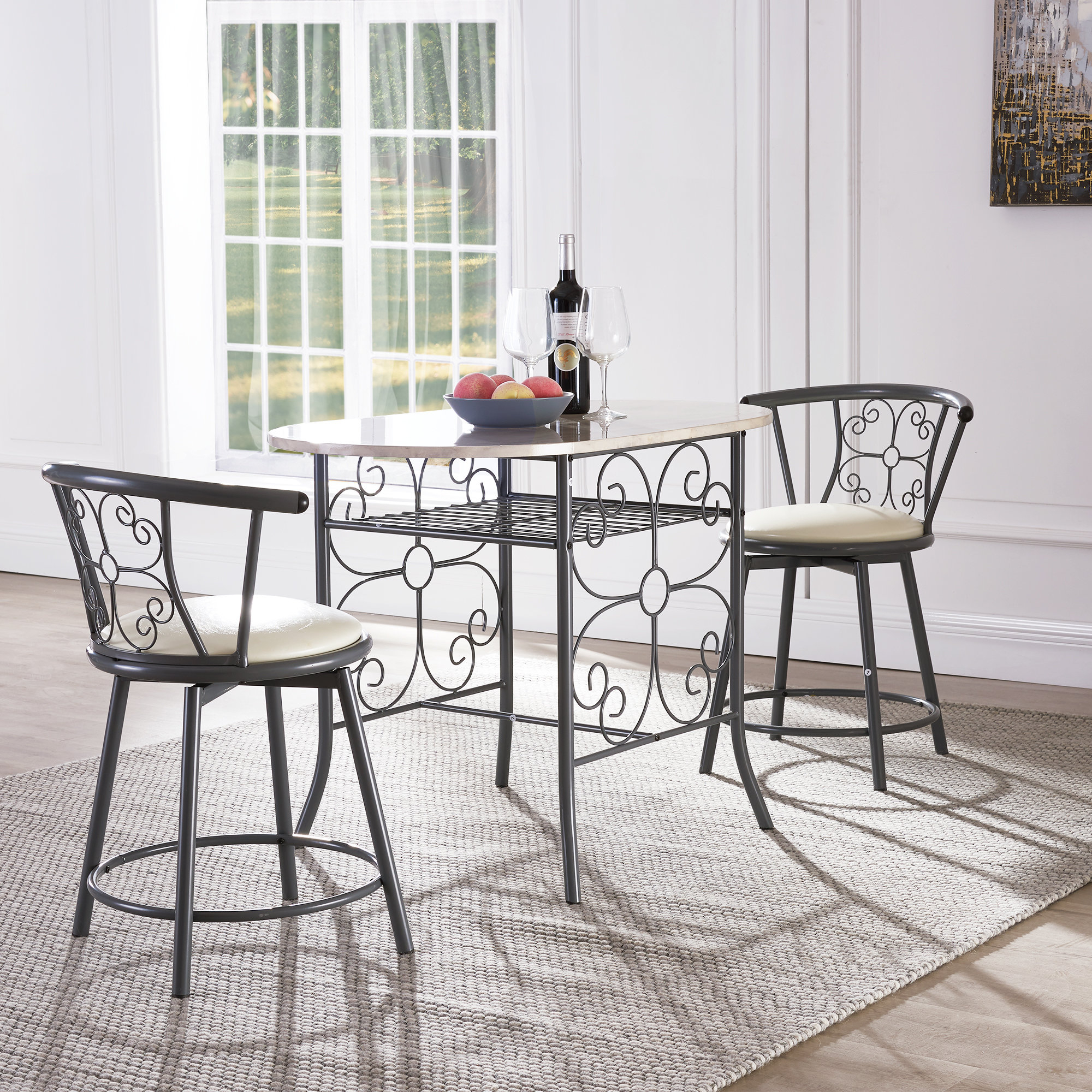 Inspiration about Tappahannock 3 Piece Counter Height Dining Sets In Newest Fleur De Lis Living Askerby Scroll Design Bistro 3 Piece Dining Set (#9 of 20)