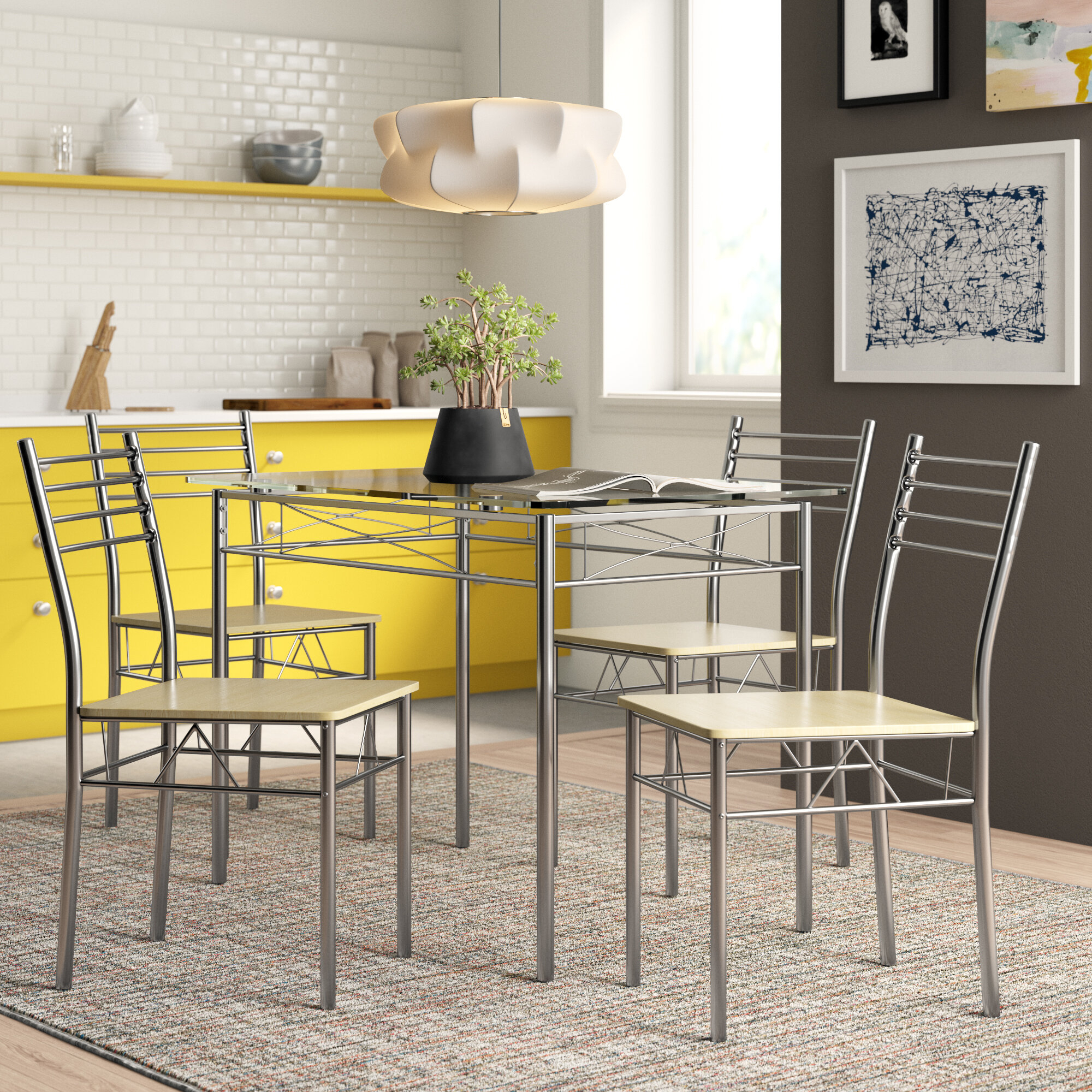 Inspiration about Tavarez 5 Piece Dining Sets Pertaining To Most Current Zipcode Design North Reading 5 Piece Dining Table Set & Reviews (#3 of 20)