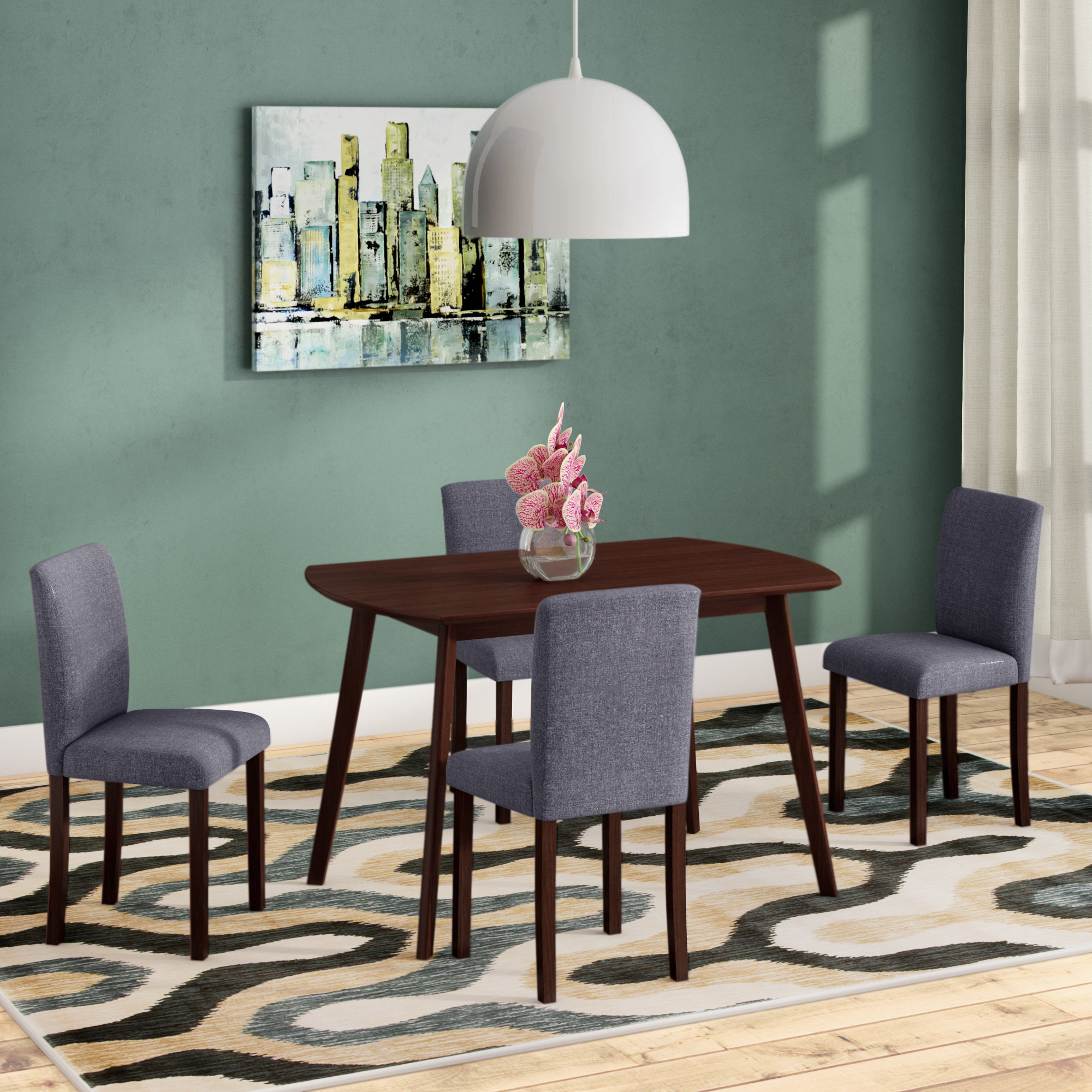 Inspiration about Tejeda 5 Piece Dining Sets In Newest Ebern Designs Errico 5 Piece Solid Wood Dining Set & Reviews (#20 of 20)