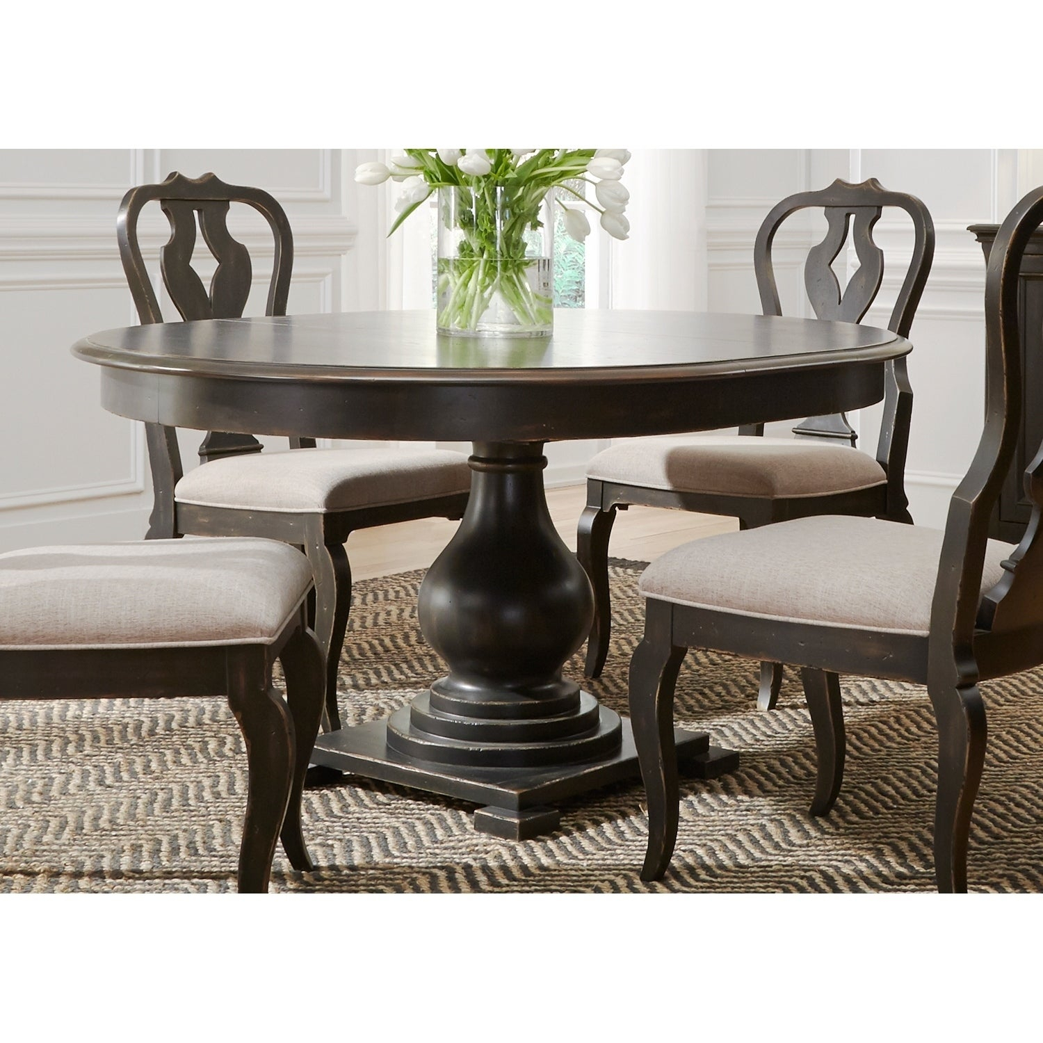 Inspiration about Tejeda 5 Piece Dining Sets In Widely Used Shop Chesapeake Wire Brushed Antique Black 7 Piece Pedestal Table (#18 of 20)