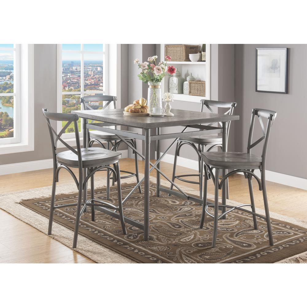 Inspiration about Trendy Acme Furniture Kaelyn Ii Gray Oak And Sandy Gray Counter Height For Kaelin 5 Piece Dining Sets (#14 of 20)