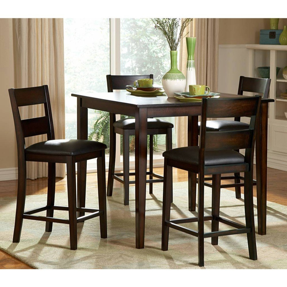 Inspiration about Trendy Biggs 5 Piece Counter Height Solid Wood Dining Set Regarding Biggs 5 Piece Counter Height Solid Wood Dining Sets (Set Of 5) (#1 of 20)