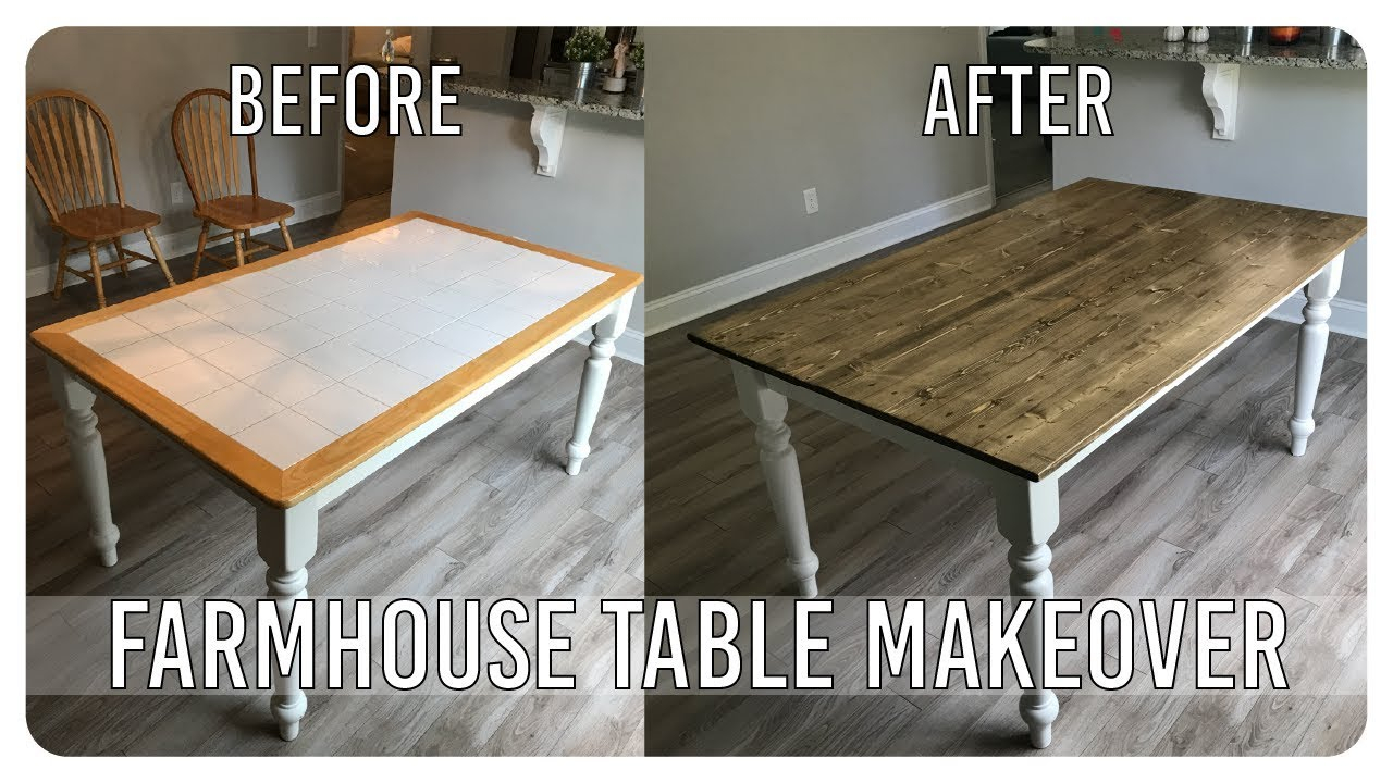 Inspiration about Trendy Diy Dining Room Table Makeover – Farmhouse Table Edition – Youtube With Regard To Falmer 3 Piece Solid Wood Dining Sets (#17 of 20)