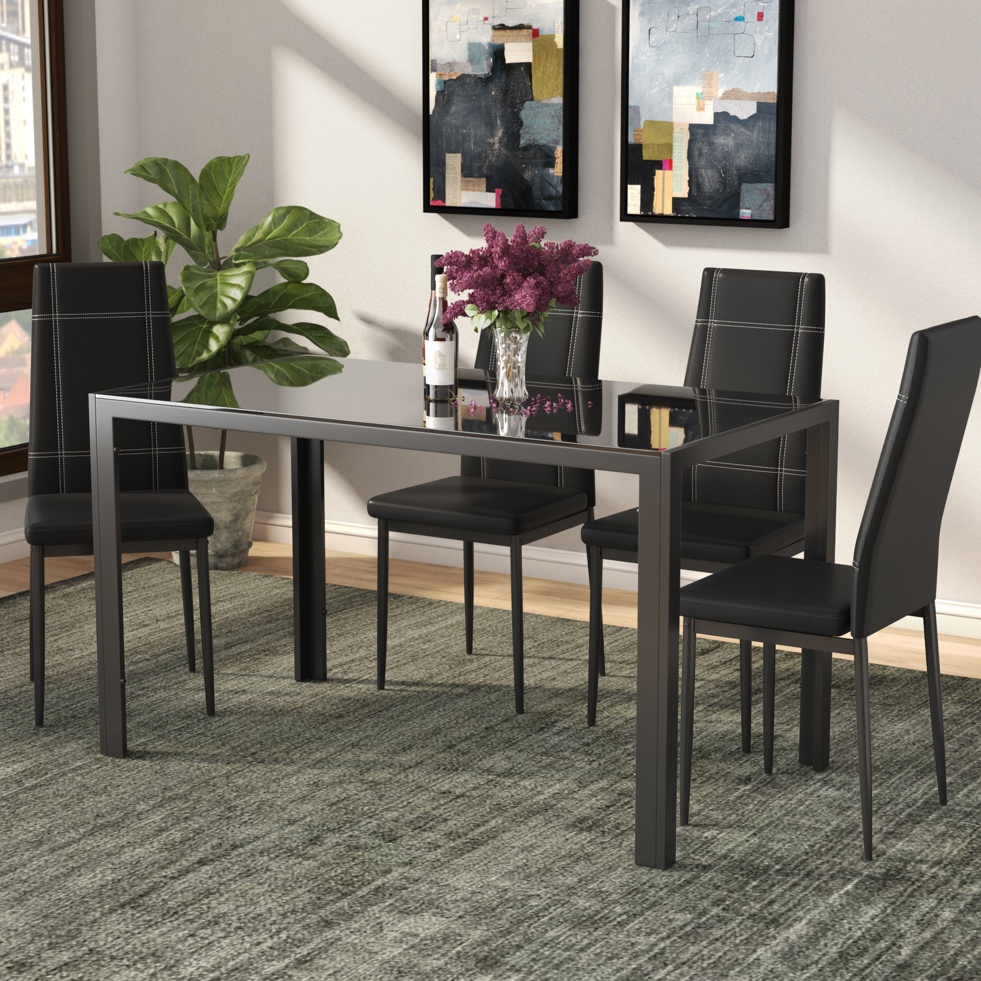 Trendy Ebern Designs Maynard 5 Piece Dining Set & Reviews (#12 of 20)