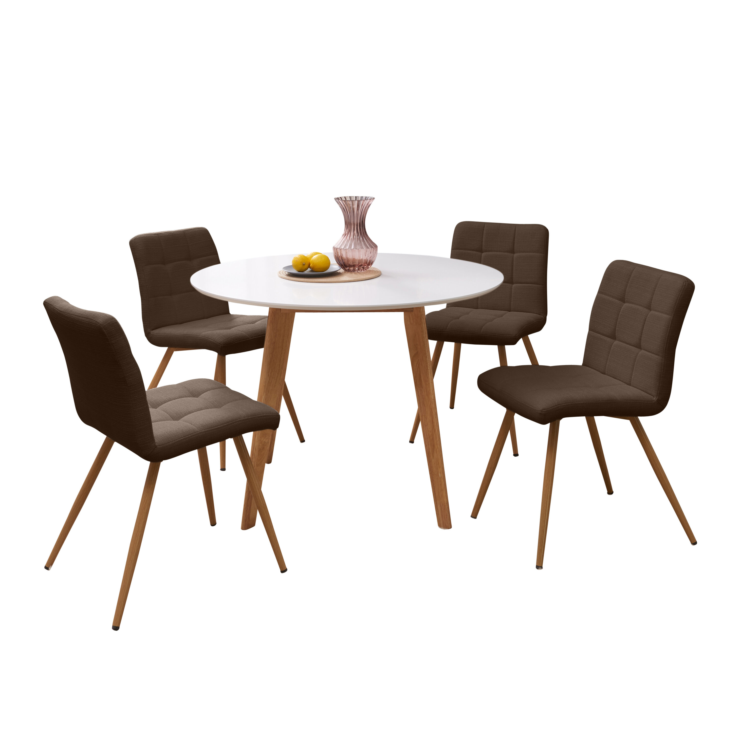 Trendy Elena 5 Piece Solid Wood Dining Set (#13 of 20)