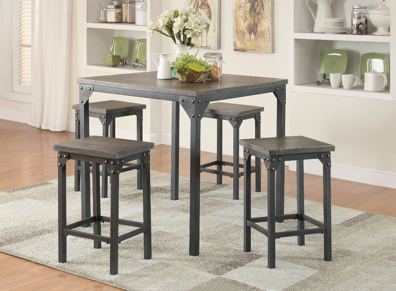Inspiration about Trendy Gracie Oaks Browne 5 Piece Counter Height Dining Set (#15 of 20)