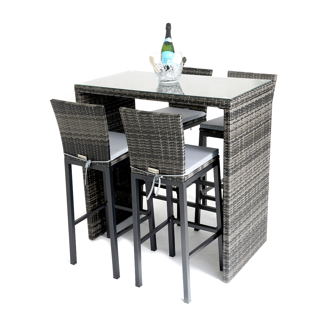 Trendy Kensington Sunset 5 Piece High Dining Set – Mixed Grey – Regatta Within Chelmsford 3 Piece Dining Sets (View 20 of 20)